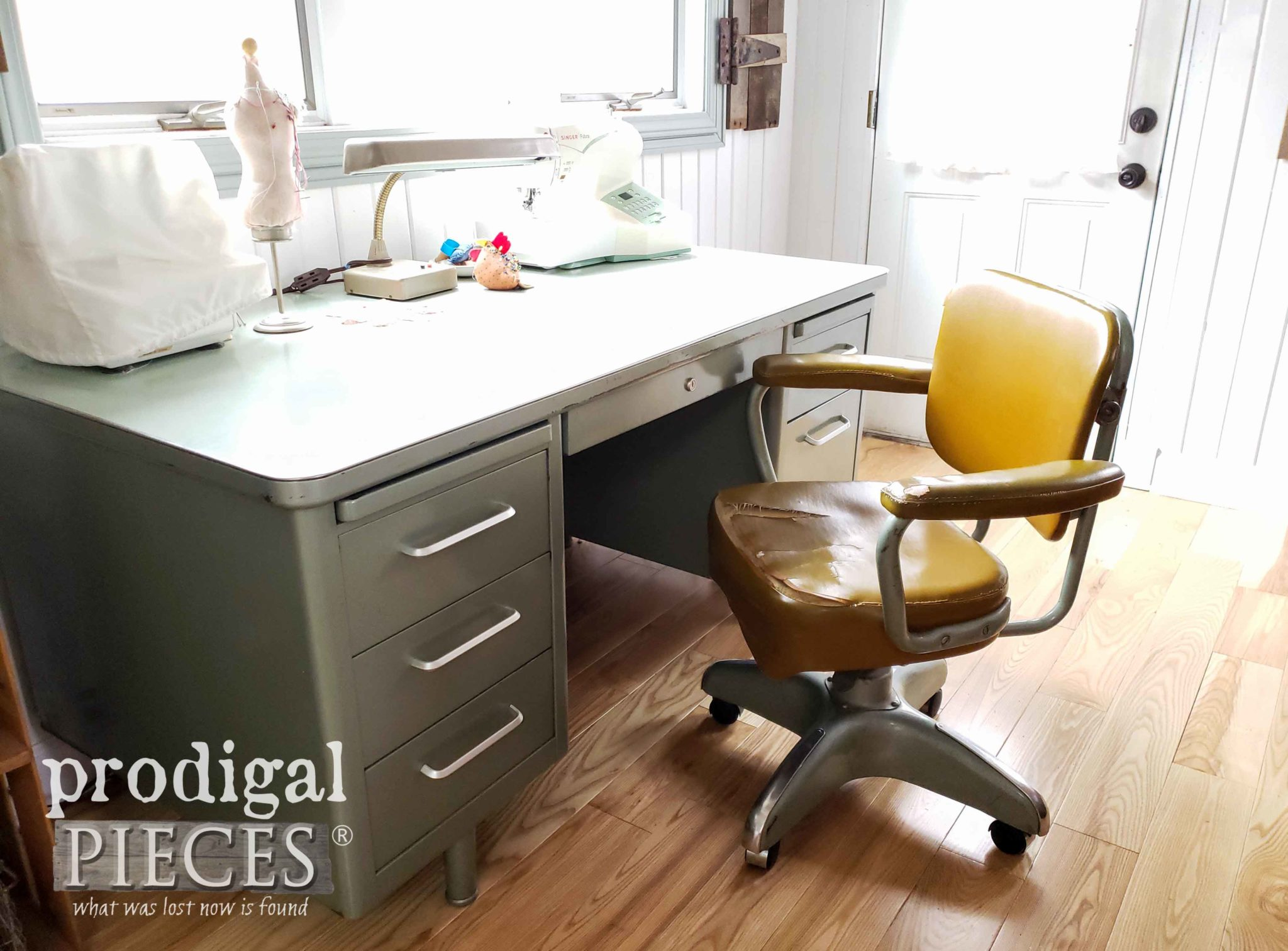 Industrial Desk Chair Before Makeover by Prodigal Pieces | prodigalpieces.com
