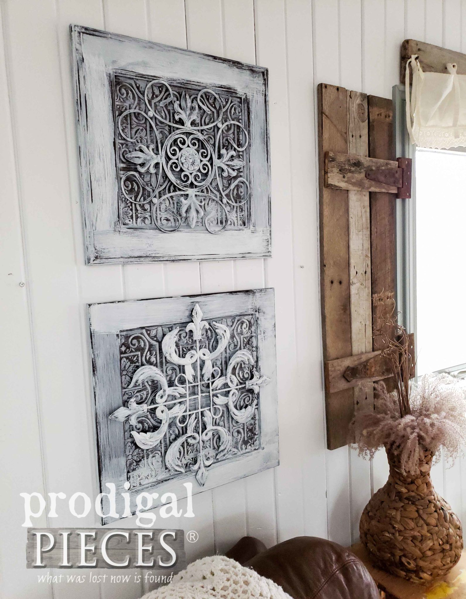 Layered Wall Art Likens to Antique Tin Ceiling Tiles by Larissa of Prodigal Pieces | prodigalpieces.com #prodigalpieces #homedecor #farmhouse