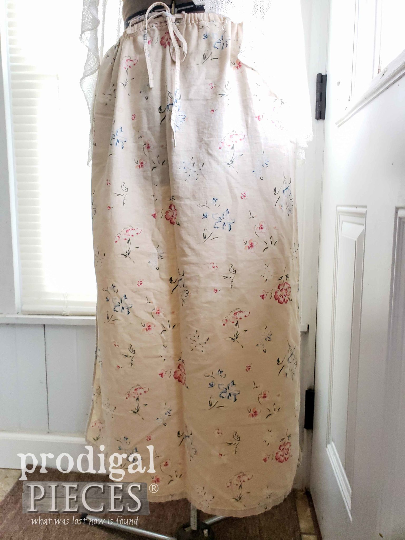 Linen Skirt with Flowers for Upcycling | prodigalpieces.com