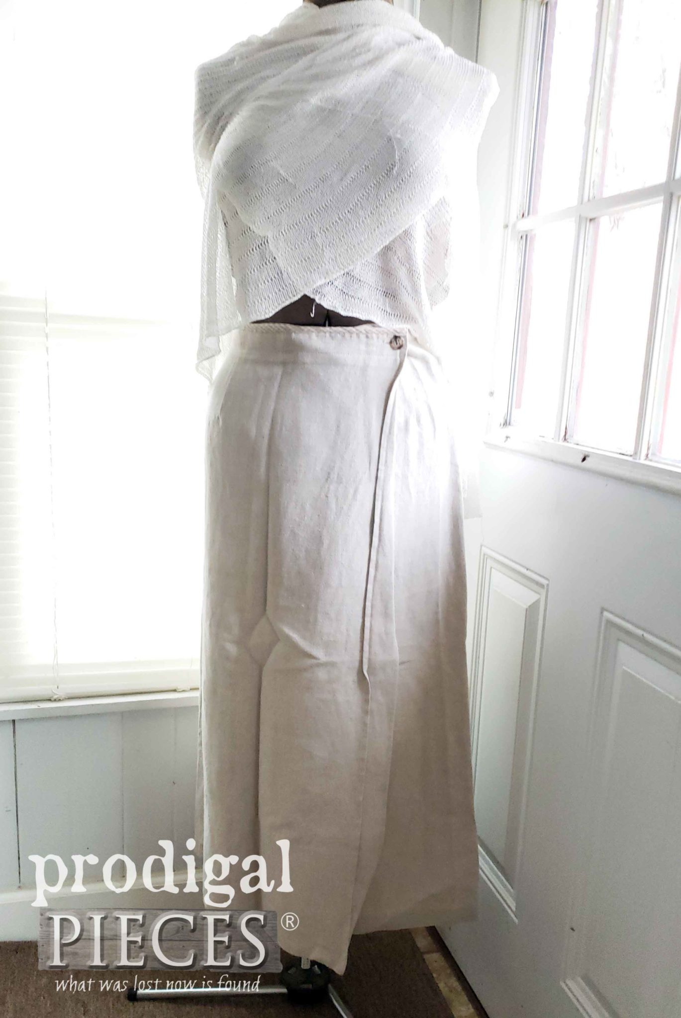 Linen Wrap Skirt before Upcycling | prodigalpieces.com