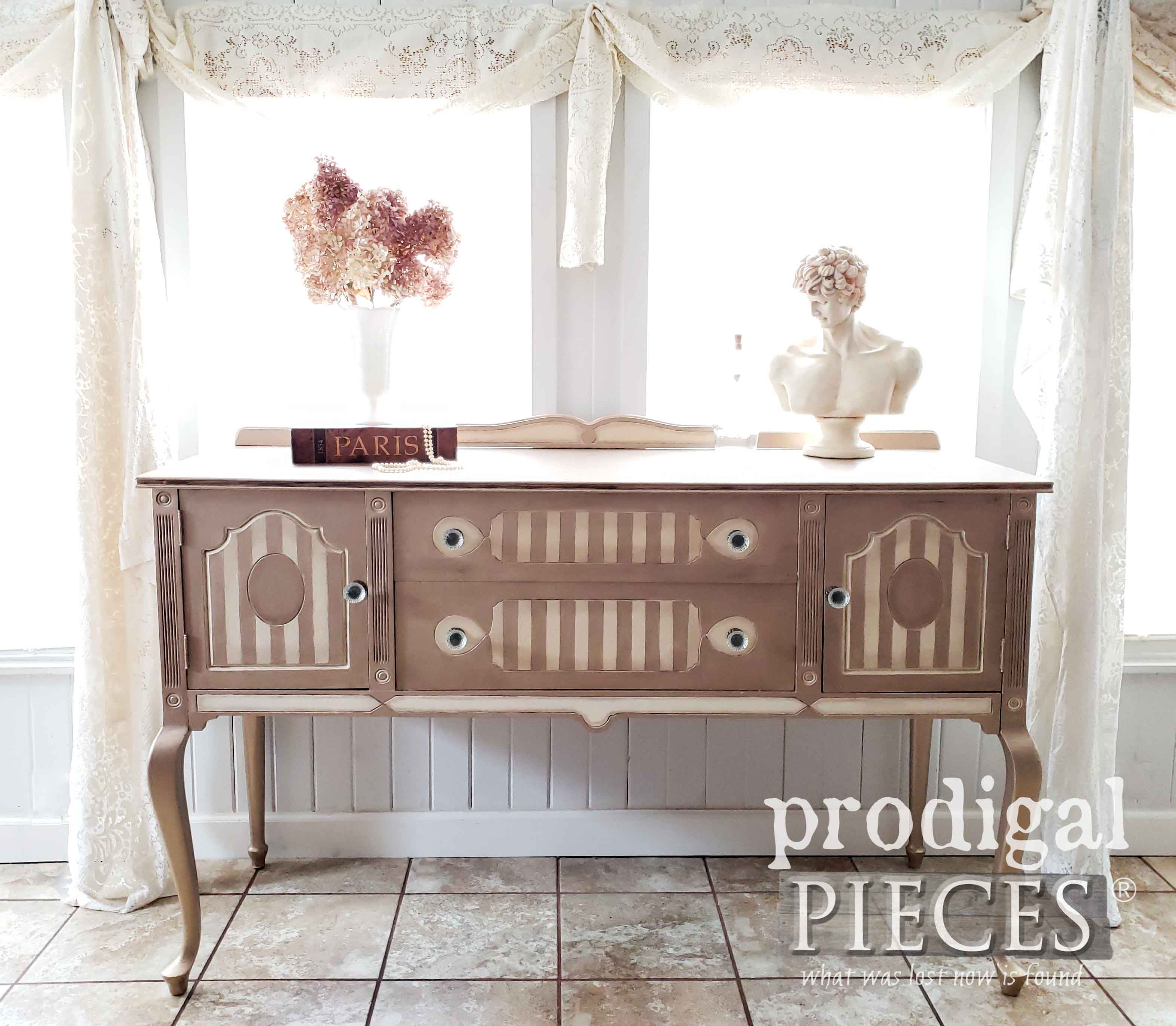 Metallic Antique Buffet with French Stripe and Queen Anne Legs by Larissa of Prodigal Pieces | prodigalpieces.com #prodigalpieces #furniture #diy #vintage #homedecor #home