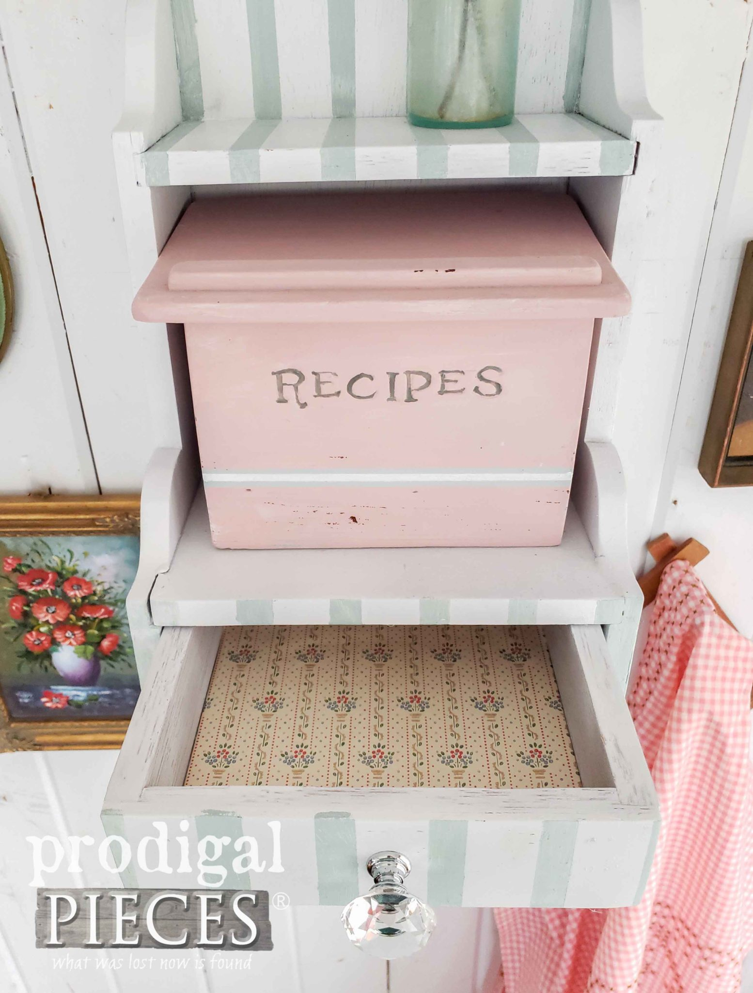 Open Paper-lined Drawer of Vintage Recipe Box with Cottage Style by Larissa of Prodigal Pieces | prodigalpieces.com #prodigalpieces #diy #home #vintage #homedecor