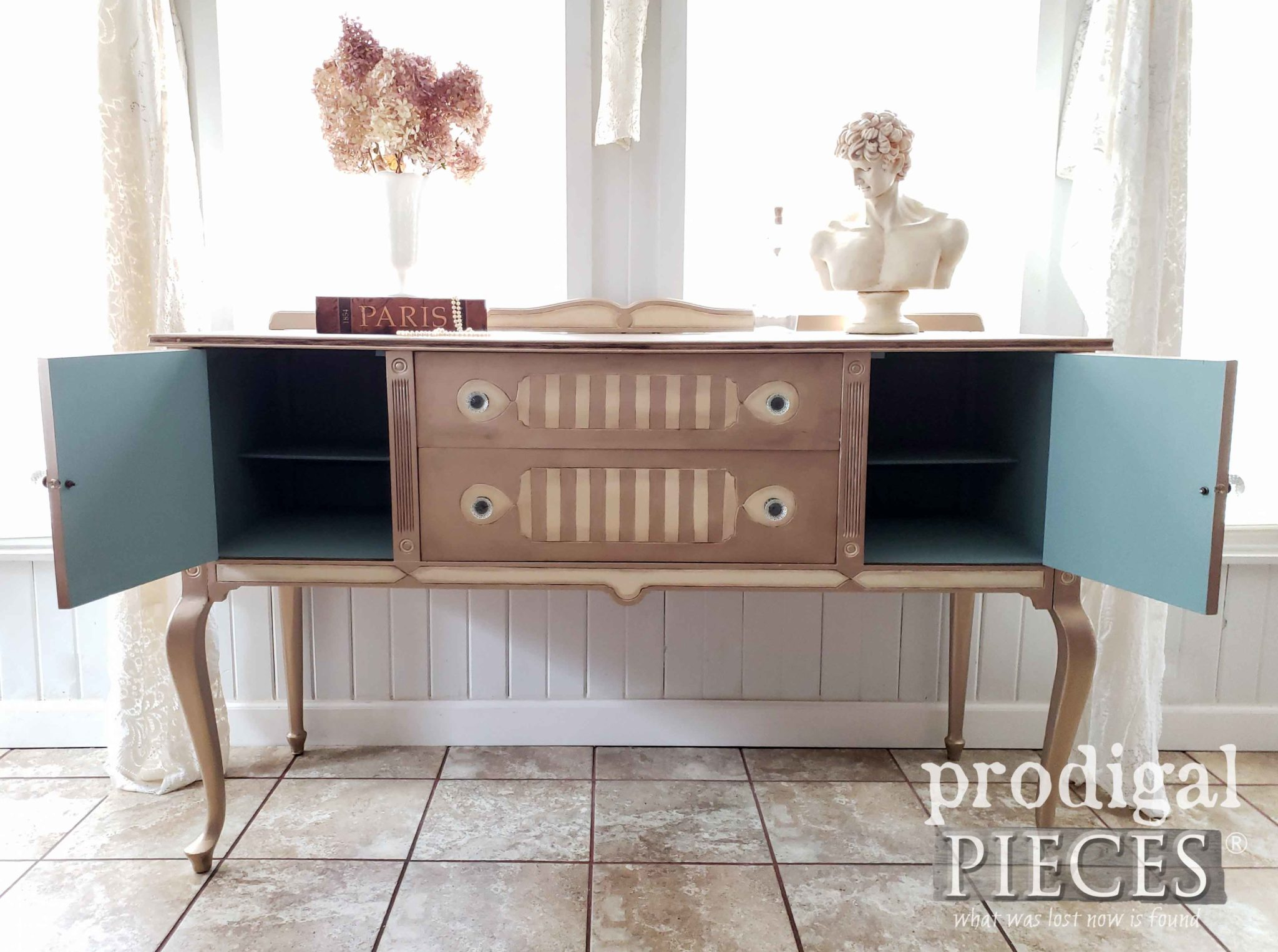 Painted Interior of Antique Buffet Adds a Pop of Color | by Larissa of Prodigal Pieces | prodigalpieces.com #prodigalpieces #diy #home #homedecor #furniture