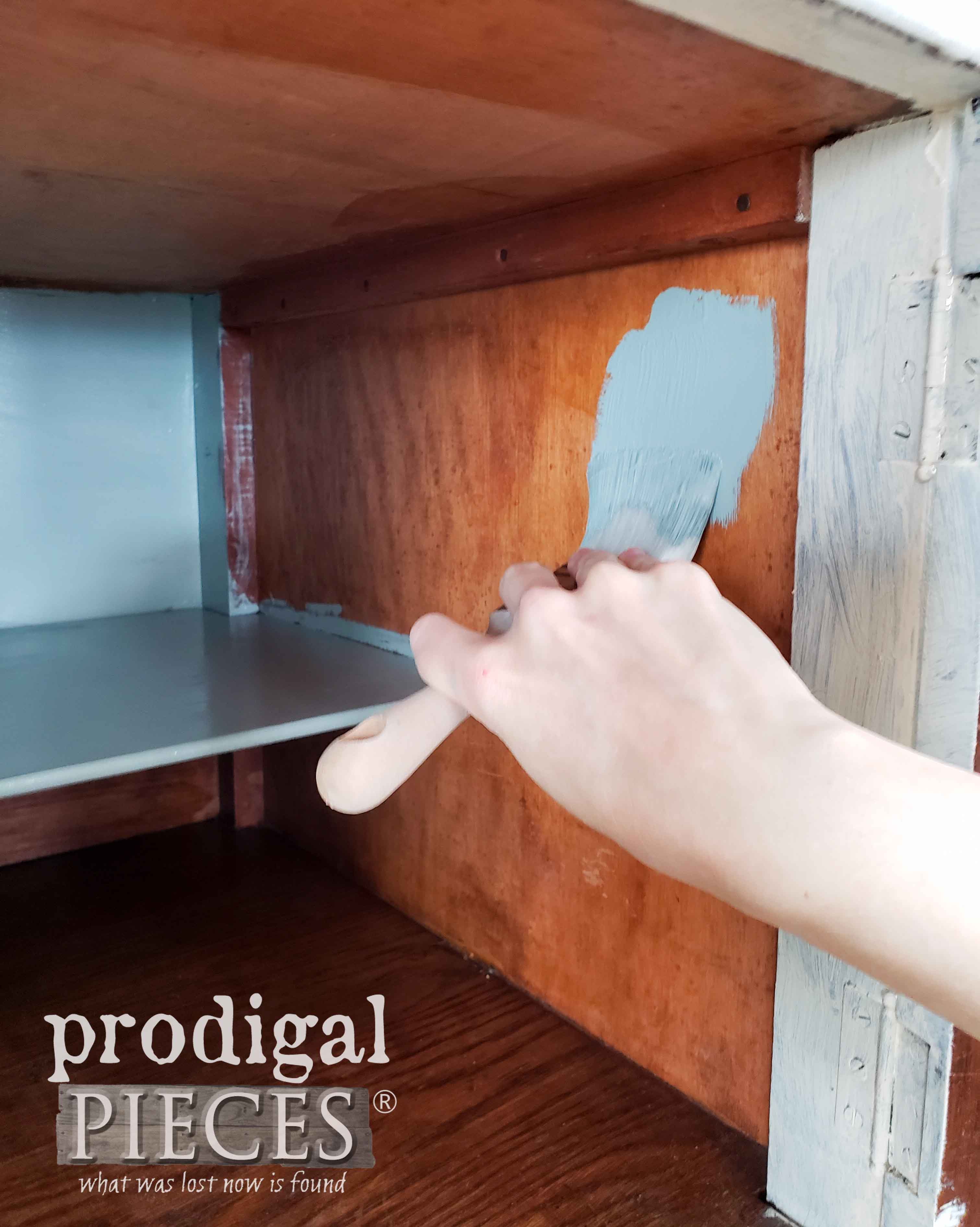Painting Buffet Interior with a Pop of Color | prodigalpieces.com
