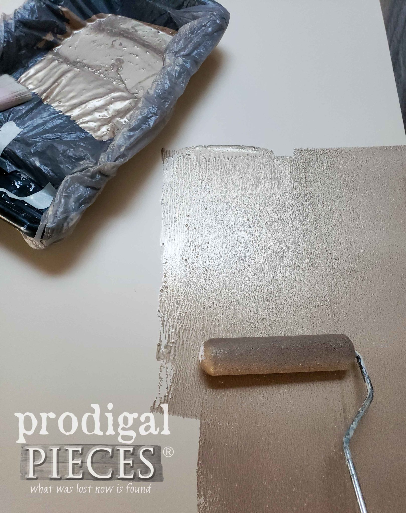 Painting Modern Masters Warm Silver Metallic Paint on Antique Buffet | prodigalpieces.com