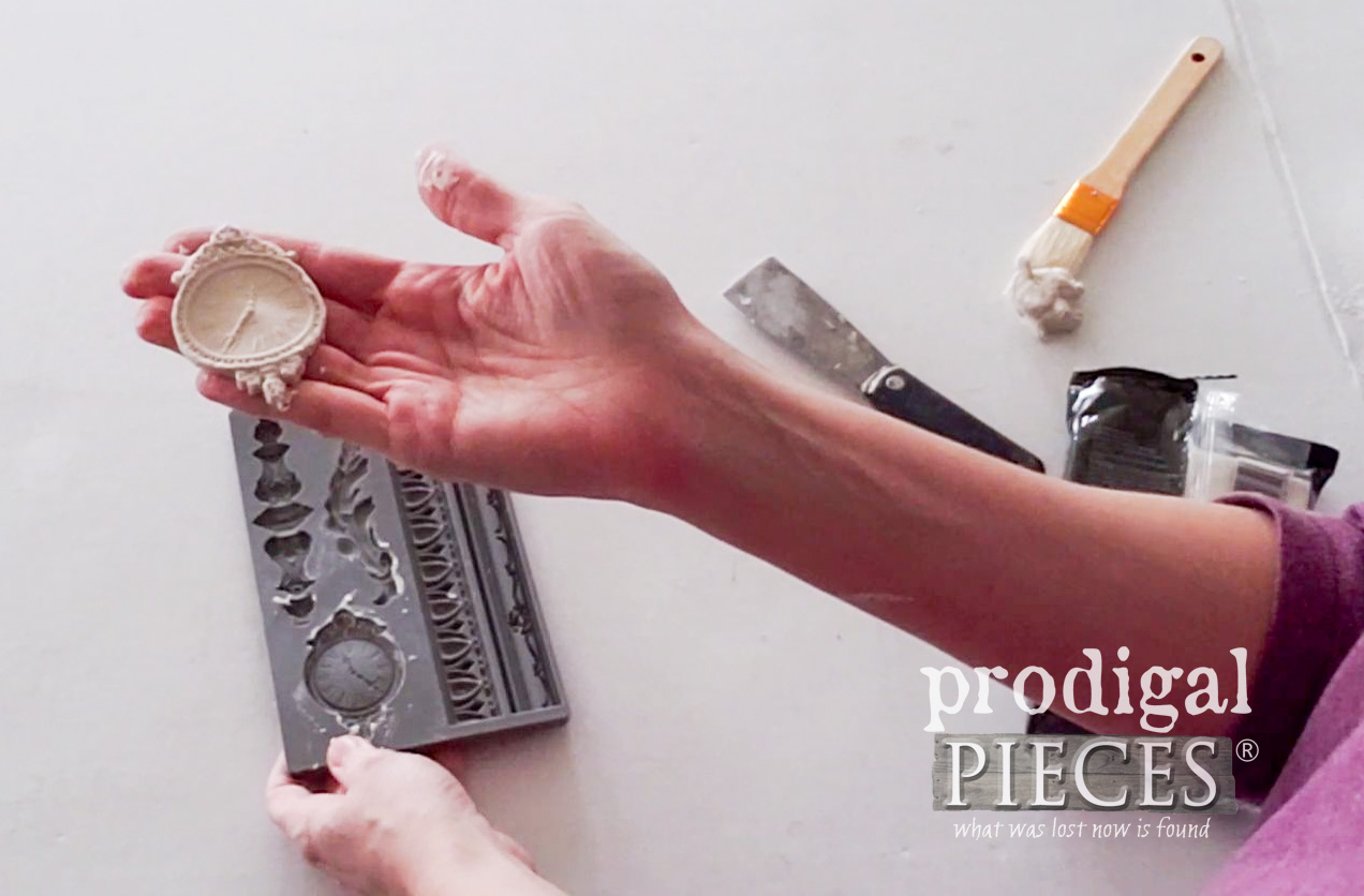 Removing Paper Clay from Iron Orchid Mold | prodigalpieces.com