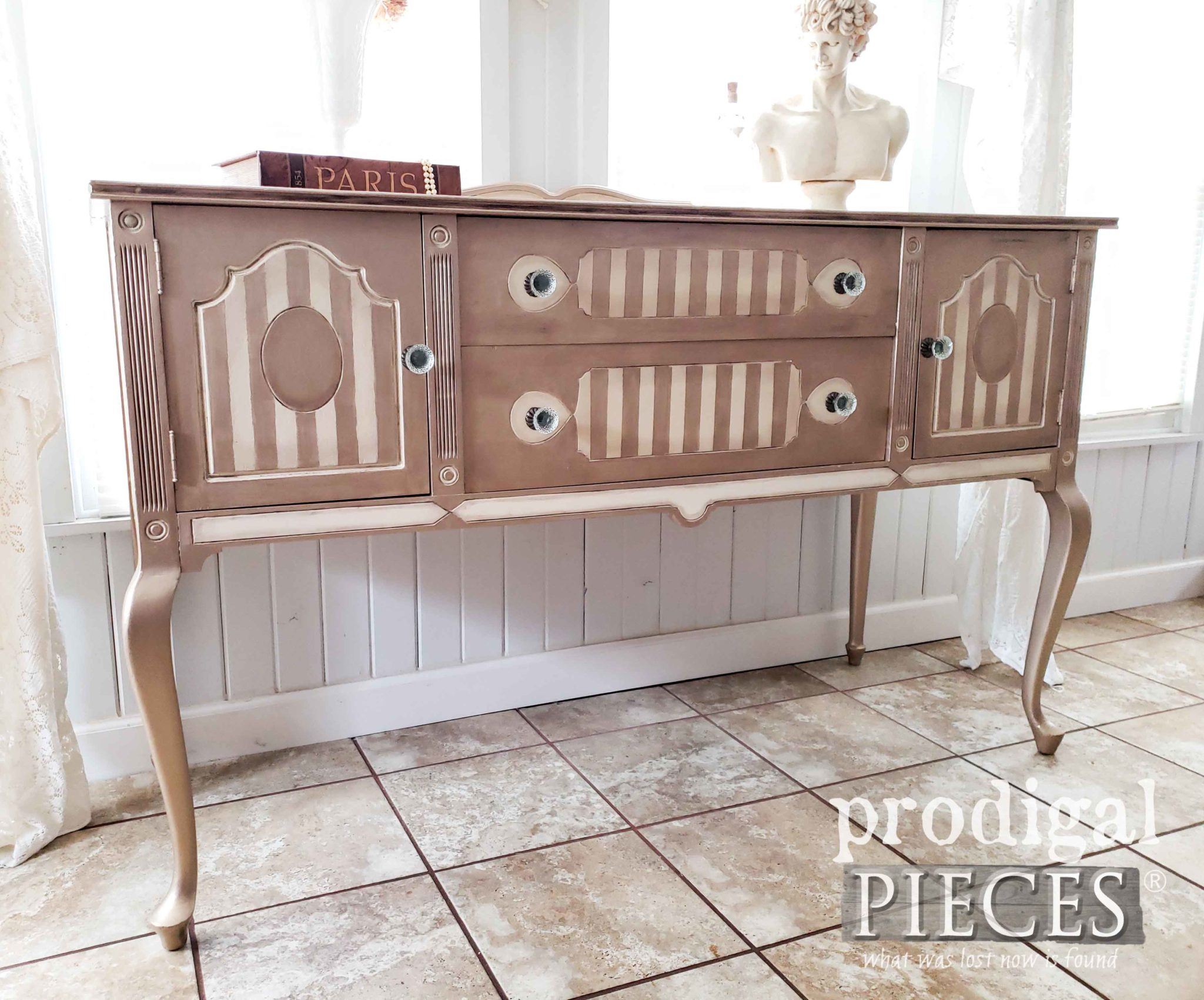 Gorgeous Metallic Queen Anne Buffet by Larissa of Prodigal Pieces | prodigalpieces.com #prodigalpieces #diy #furniture #home #homedecor #antique