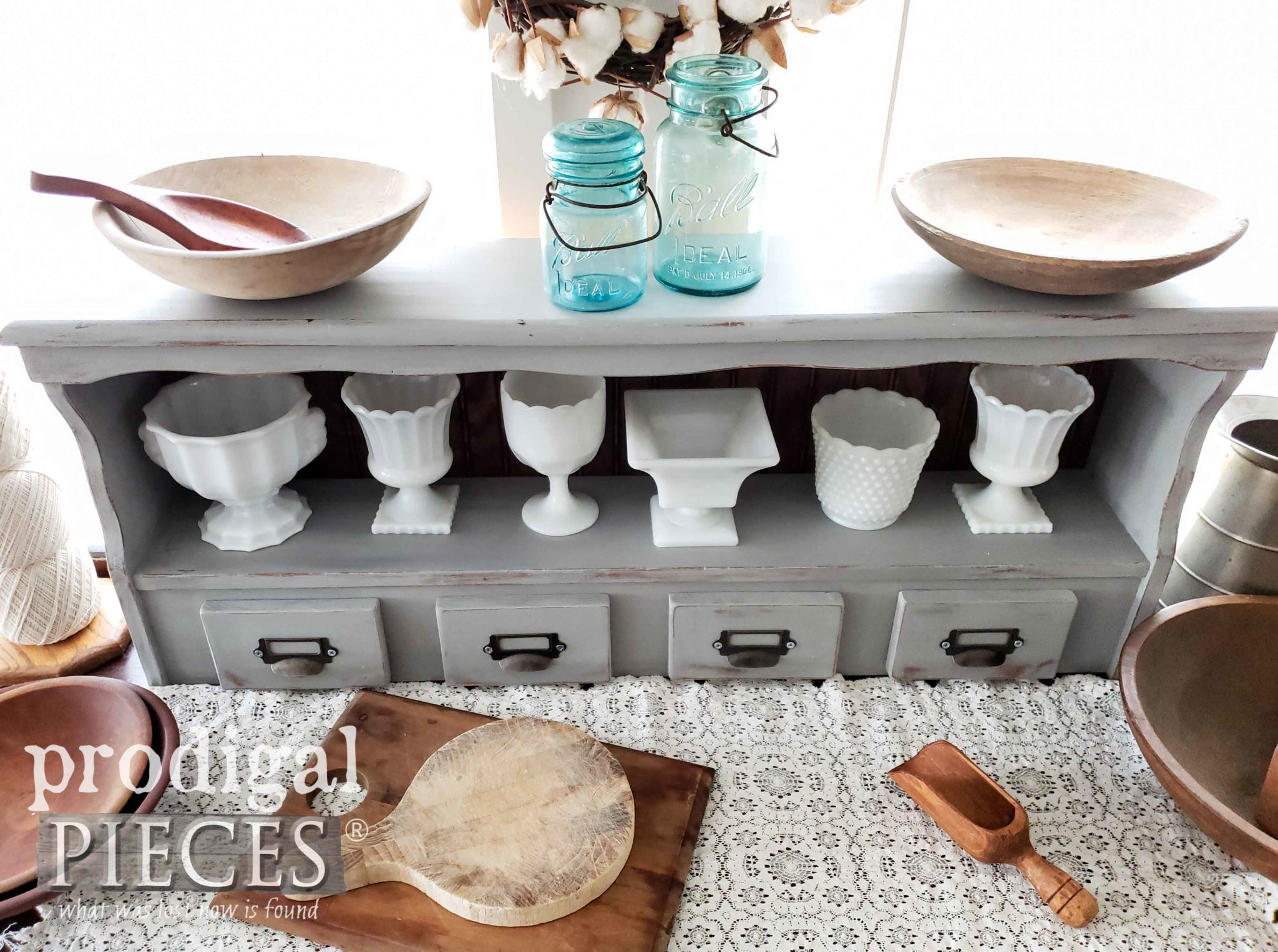 Rustic Farmhouse Kitchen with Upcycled Bookcase Headboard turned into Handmade Hutch by Larissa of Prodigal Pieces | prodigalpieces.com #prodigalpieces #homedecor #handmade #farmhouse #diy #vintage #home