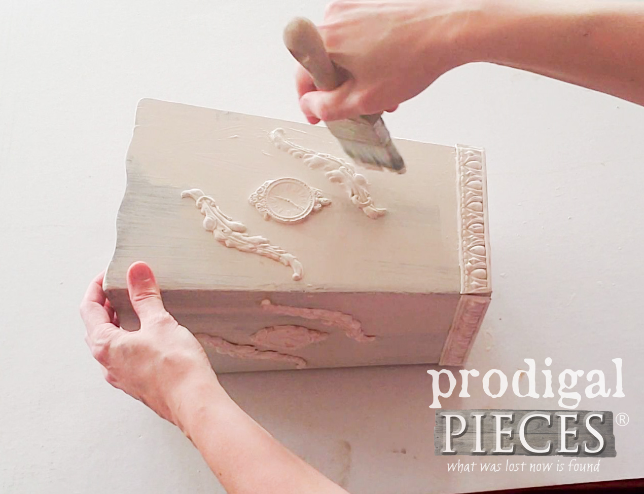 Applying Second Coat of Paint to Upcycled Wooden Vase by Prodigal Pieces | prodigalpieces.com