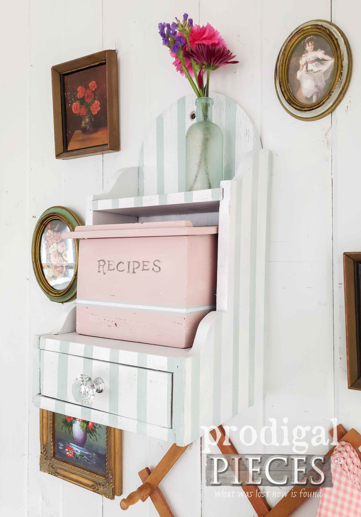Cottage Chic Striped Recipe Box with Video Tutorial by Larissa of Prodigal Pieces | prodigalpieces.com #prodigalpieces #diy #vintage #home #videos #homedecor