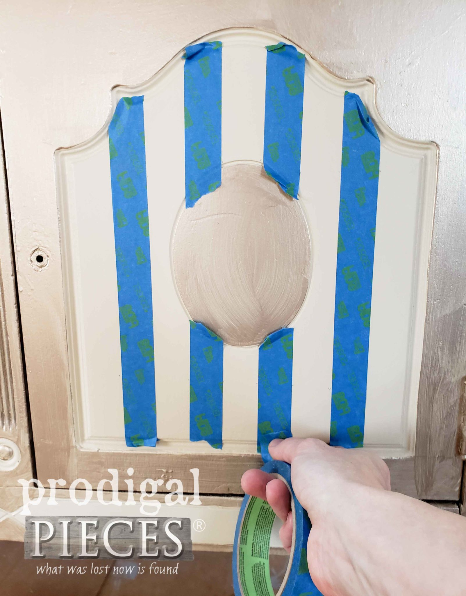 Taping off Antique Buffet Doors for French Chic Stripe by Prodigal Pieces | prodigalpieces.com