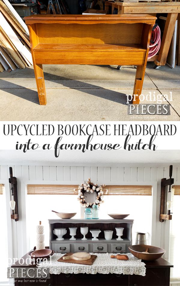 Check out this super fun upcycled bookcase headboard hutch. From funky vintage to farmhouse chic. Full tutorial by Larissa of Prodigal Pieces at prodigalpieces.com #prodigalpieces #diy #handmade #home #vintage #homedecor #furniture