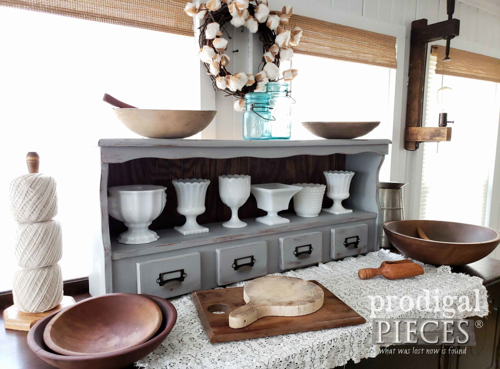 Upcycled Farmhouse Hutch Created from a Vintage Bookcase Headboard by Larissa of Prodigal Pieces | prodigalpieces.com #prodigalpieces #diy #farmhouse #home #vintage #homedecor