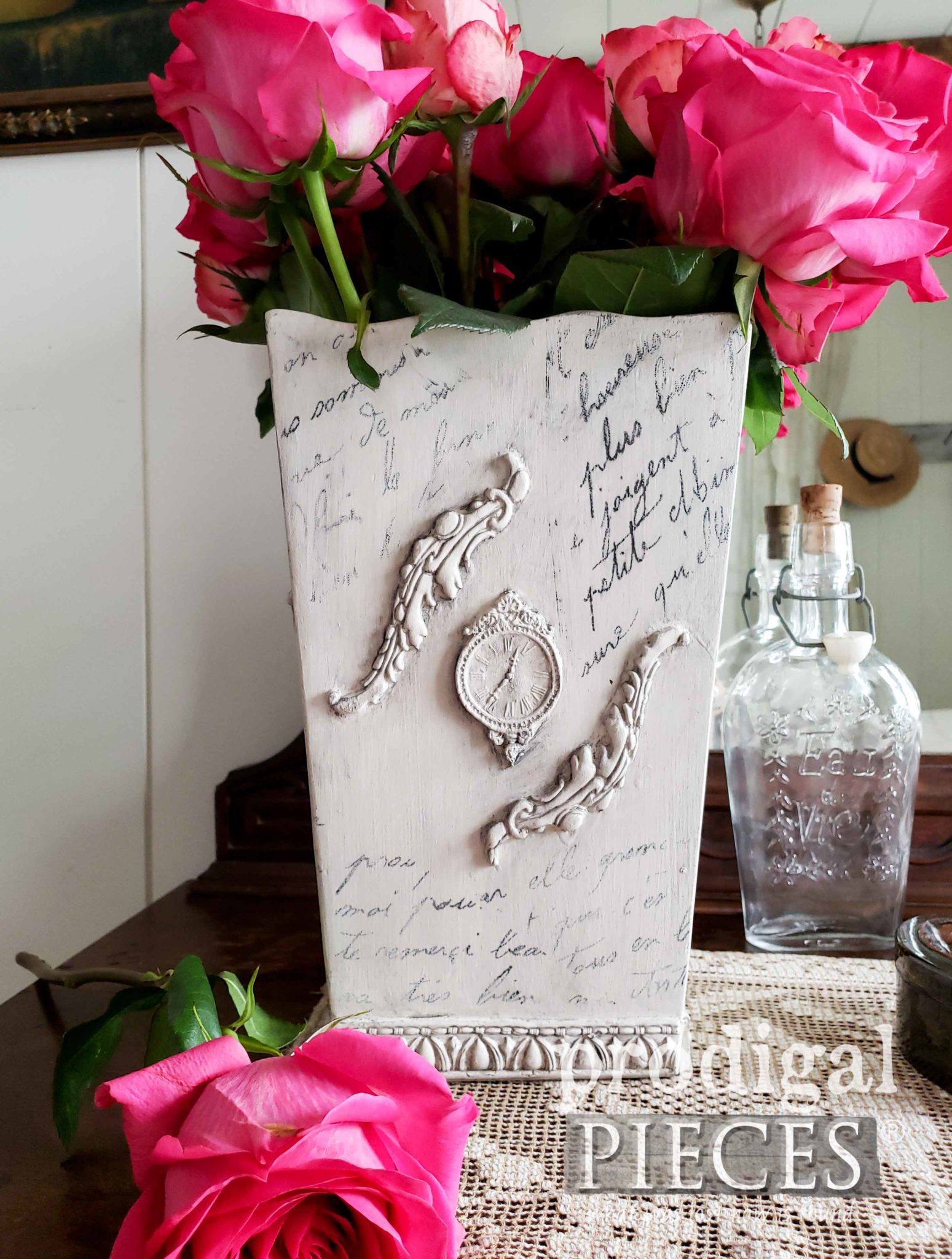 Upcycled French Script Vase from Thrift Store Finds by Larissa of Prodigal Pieces | prodigalpieces.com #prodigalpieces #diy #home #vintage #homedecor