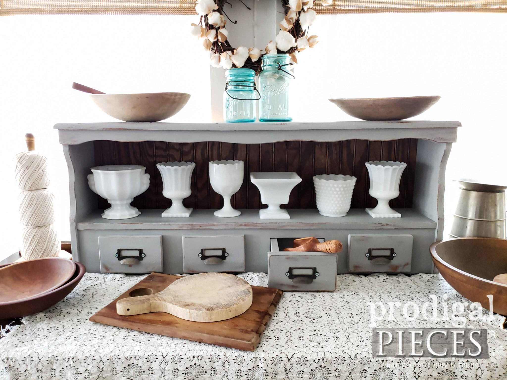 Upcycled Bookcase Headboard Hutch Created with Cubby Drawers by Larissa of Prodigal Pieces | DIY tutorial at prodigalpieces.com | #prodigalpieces #diy #home #handmade #homedecor #furniture #farmhouse