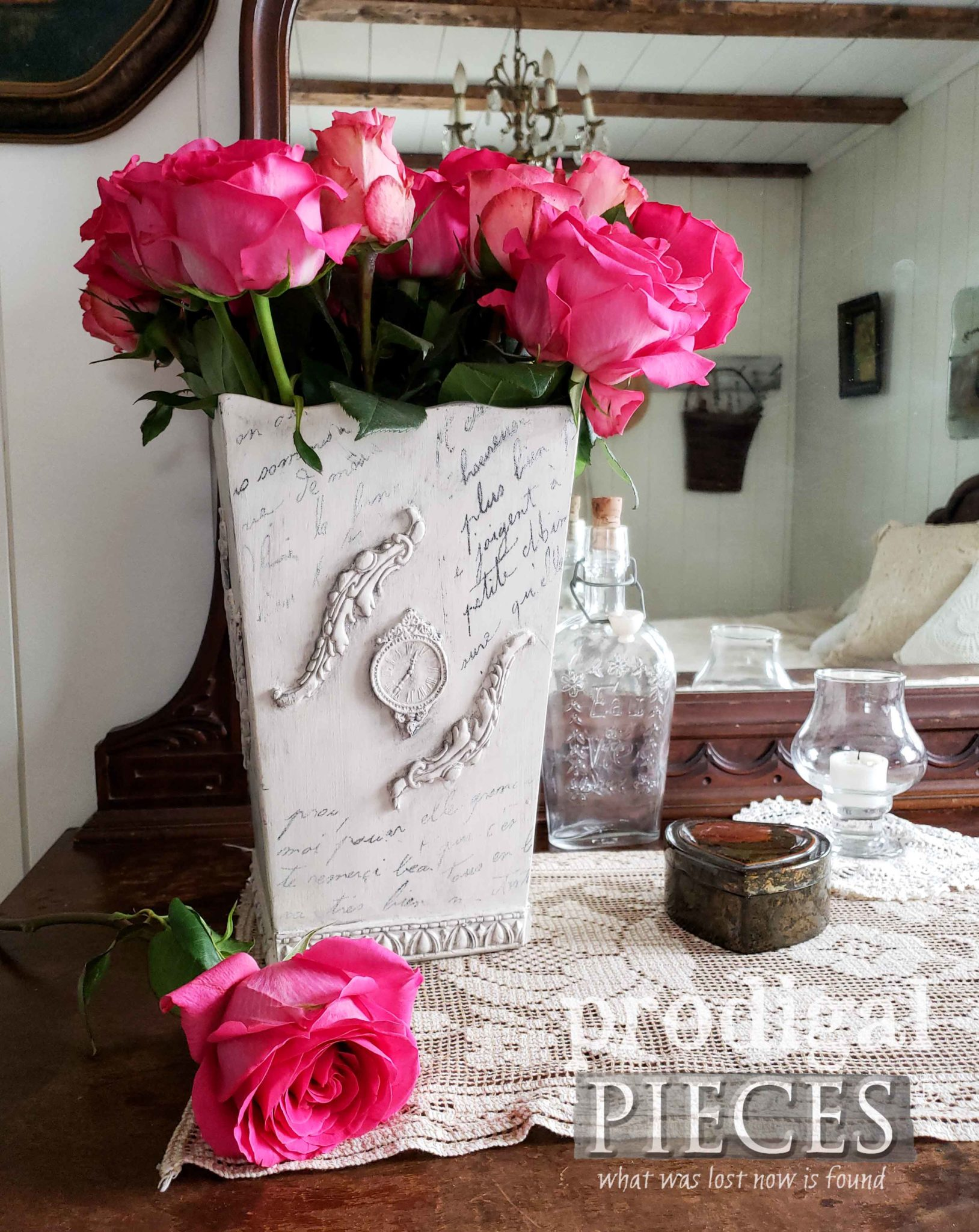 Upcycled Wooden Vase Made New with French Script and Paper Clay Appliques by Larissa of Prodigal Pieces | prodigalpieces.com #prodigalpieces #diy #home #vintage #homedecor
