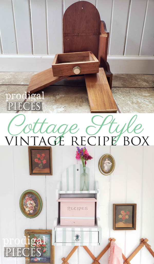From dilapidated to cottage fun, this vintage recipe box gets new life by Larissa of Prodigal Pieces | See the video tutorial at prodigalpieces.com #prodigalpieces #diy #vintage #home #handmade #homedecor