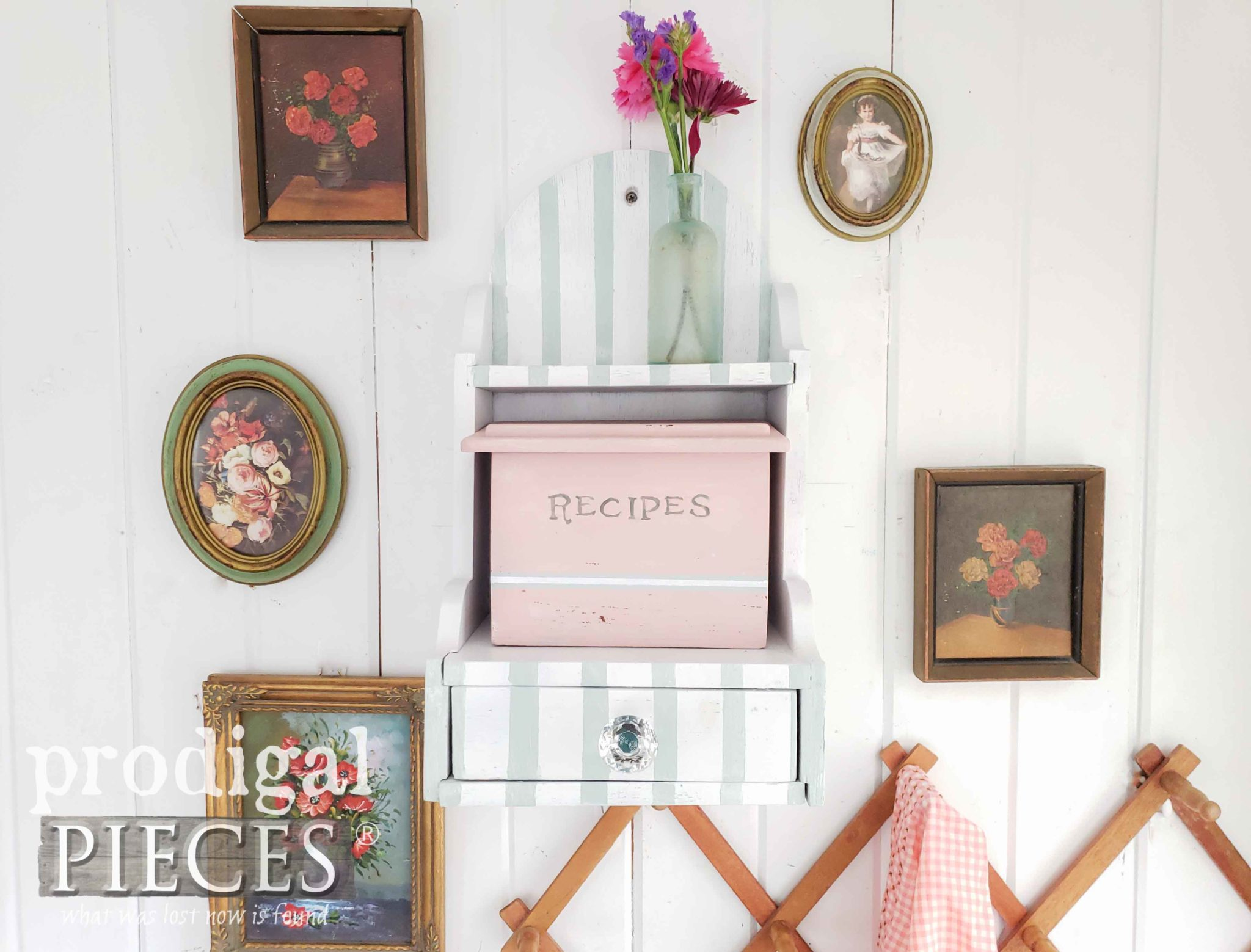 Vintage Recipe Box Makeover with Cottage Style | Video Tutorial can be seen at Prodigal Pieces | prodigalpieces.com #prodigalpieces #handmade #home #vintage #homedecor