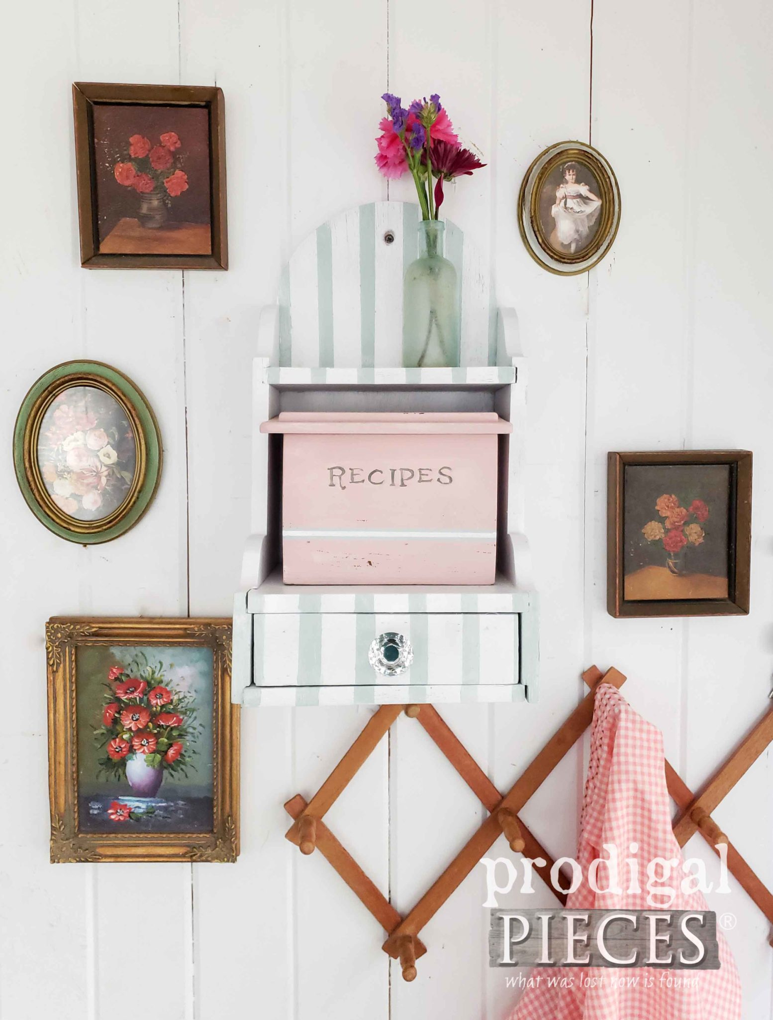 Cottage Style Vintage Recipe Box Holder by Larissa of Prodigal Pieces | prodigalpieces.com #prodigalpieces #diy #home #homedecor #vintage #retro #handmade