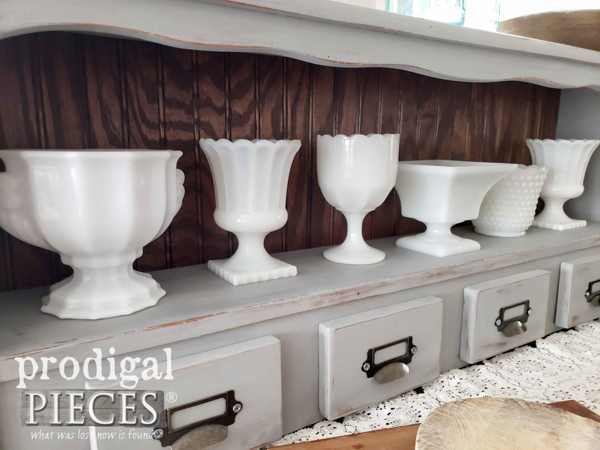 Vintage Milk Glass Urn Collection in Upcycled Bookcase Headboard by Larissa of Prodigal Pieces | prodigalpieces.com #prodigalpieces #diy #farmhouse #vintage #home #retro #homedecor