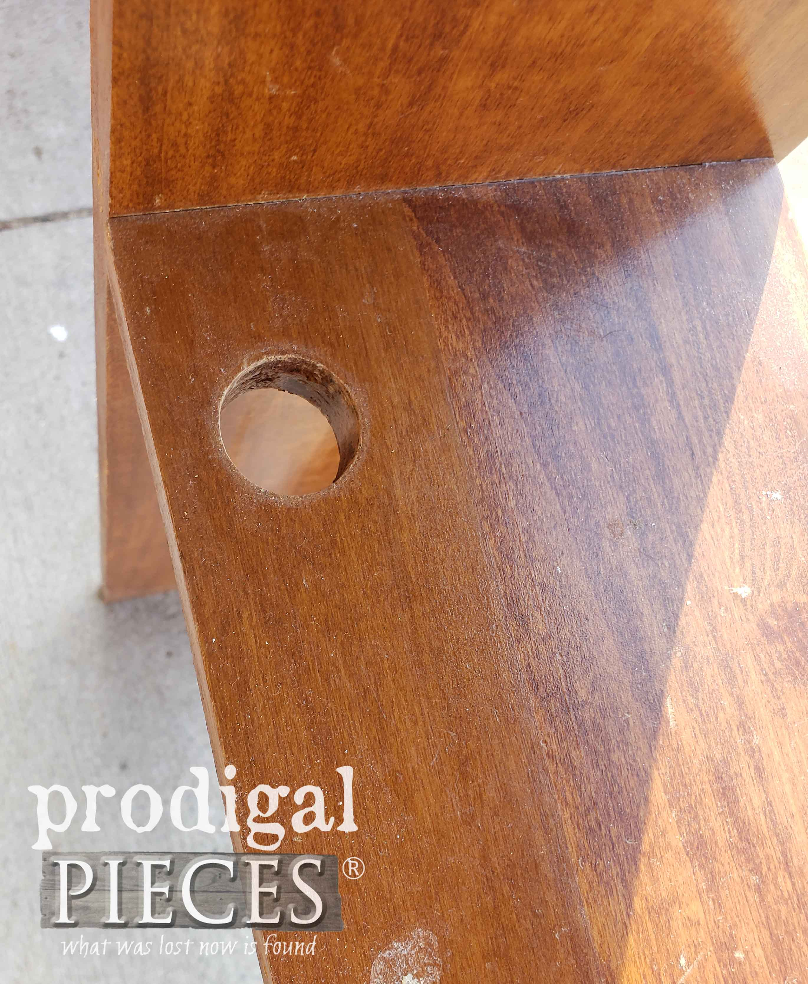Wiring Hole in Vintage Bookcase Headboard | prodigalpieces.com