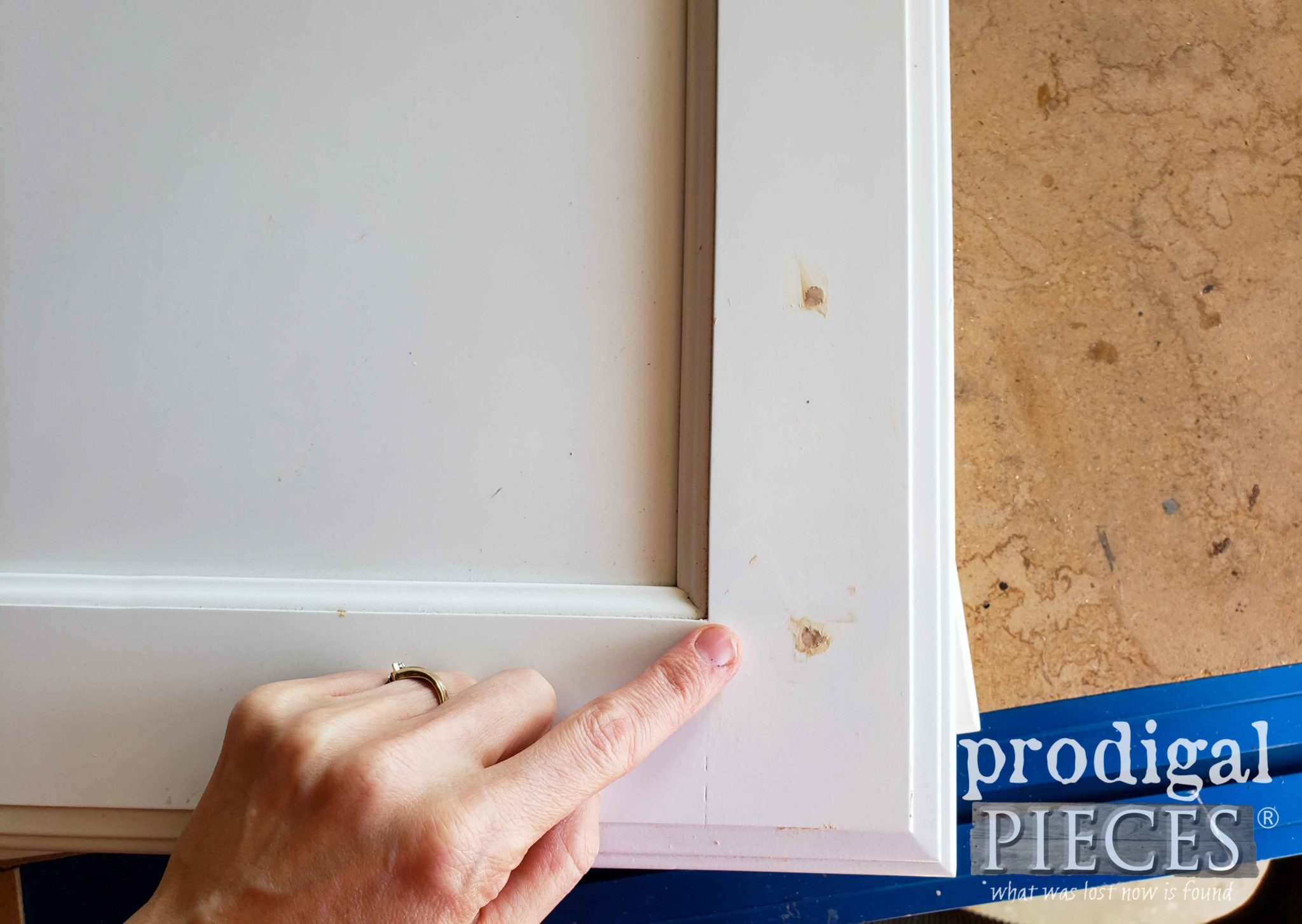 Wood Filler to Fill Cabinet Hardware Holes | prodigalpieces.com