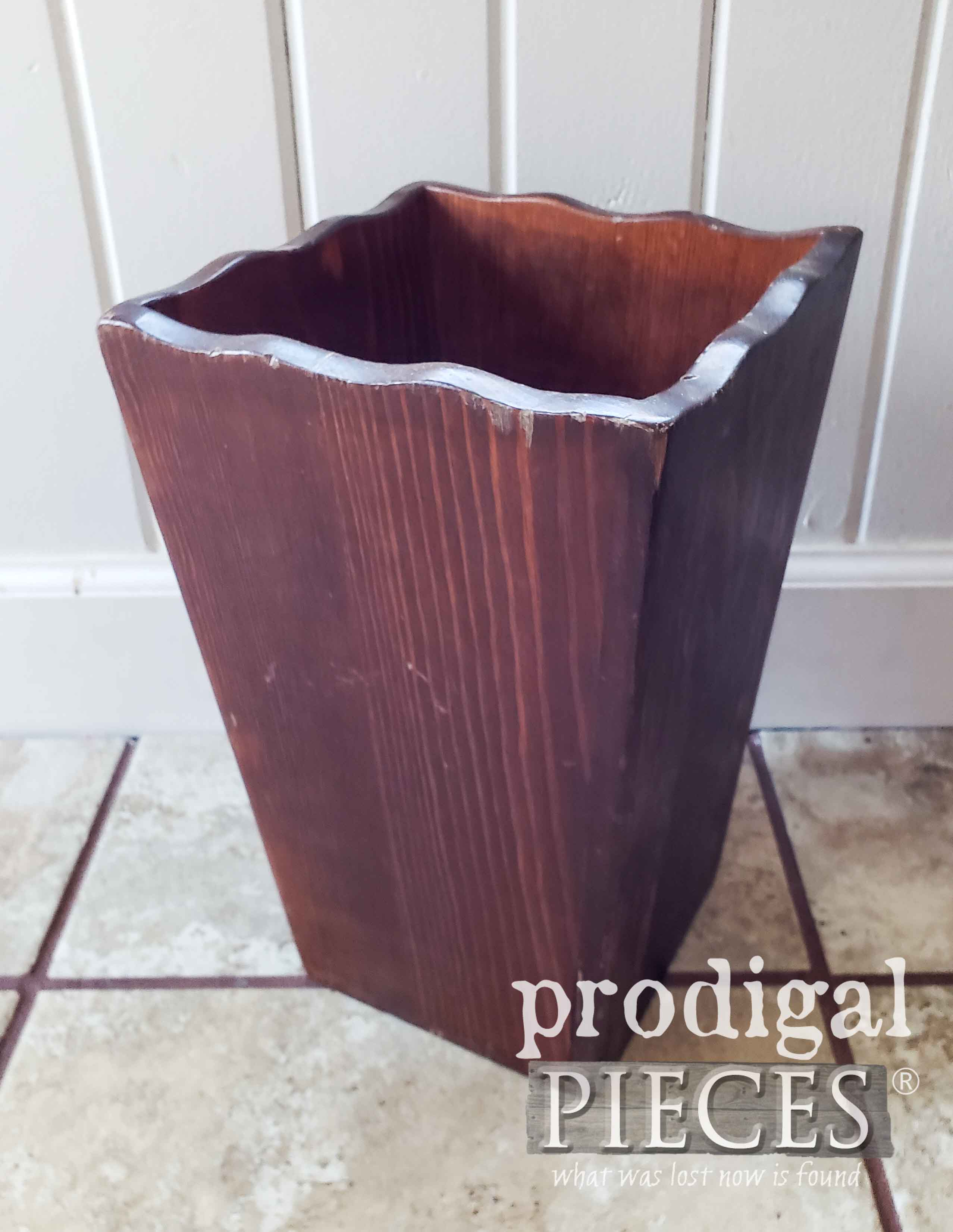 Thrifted Wooden Vase Before Makeover by Larissa of Prodigal Pieces | prodigalpieces.com