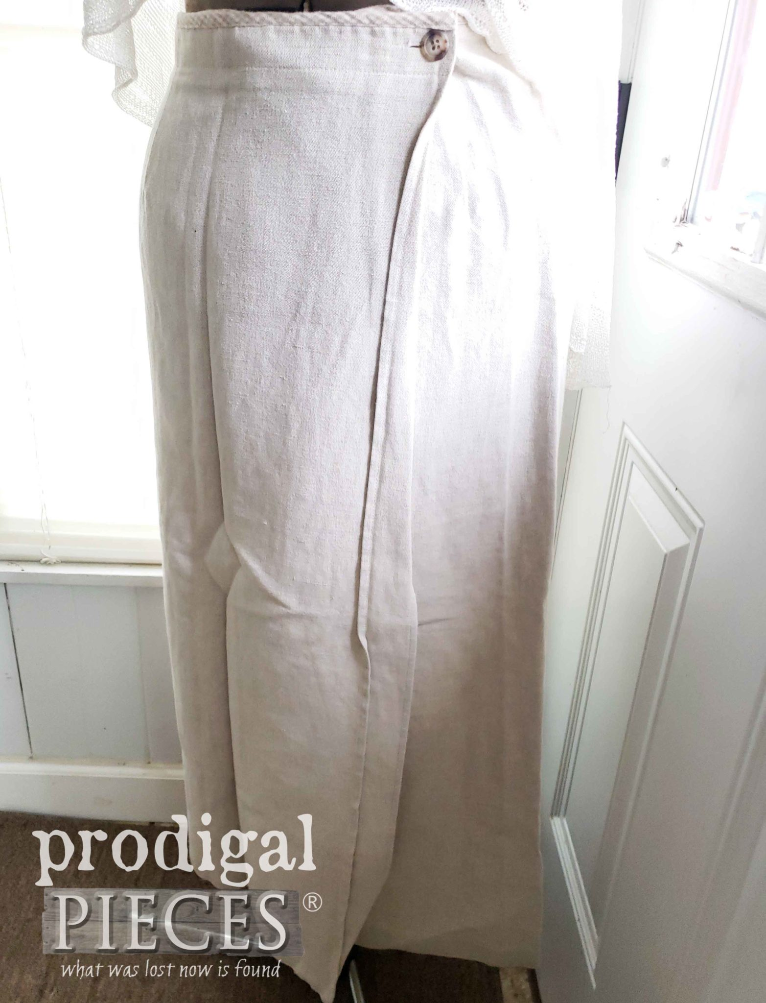Wrap Linen Skirt for Upcycling Fun | prodigalpieces.com