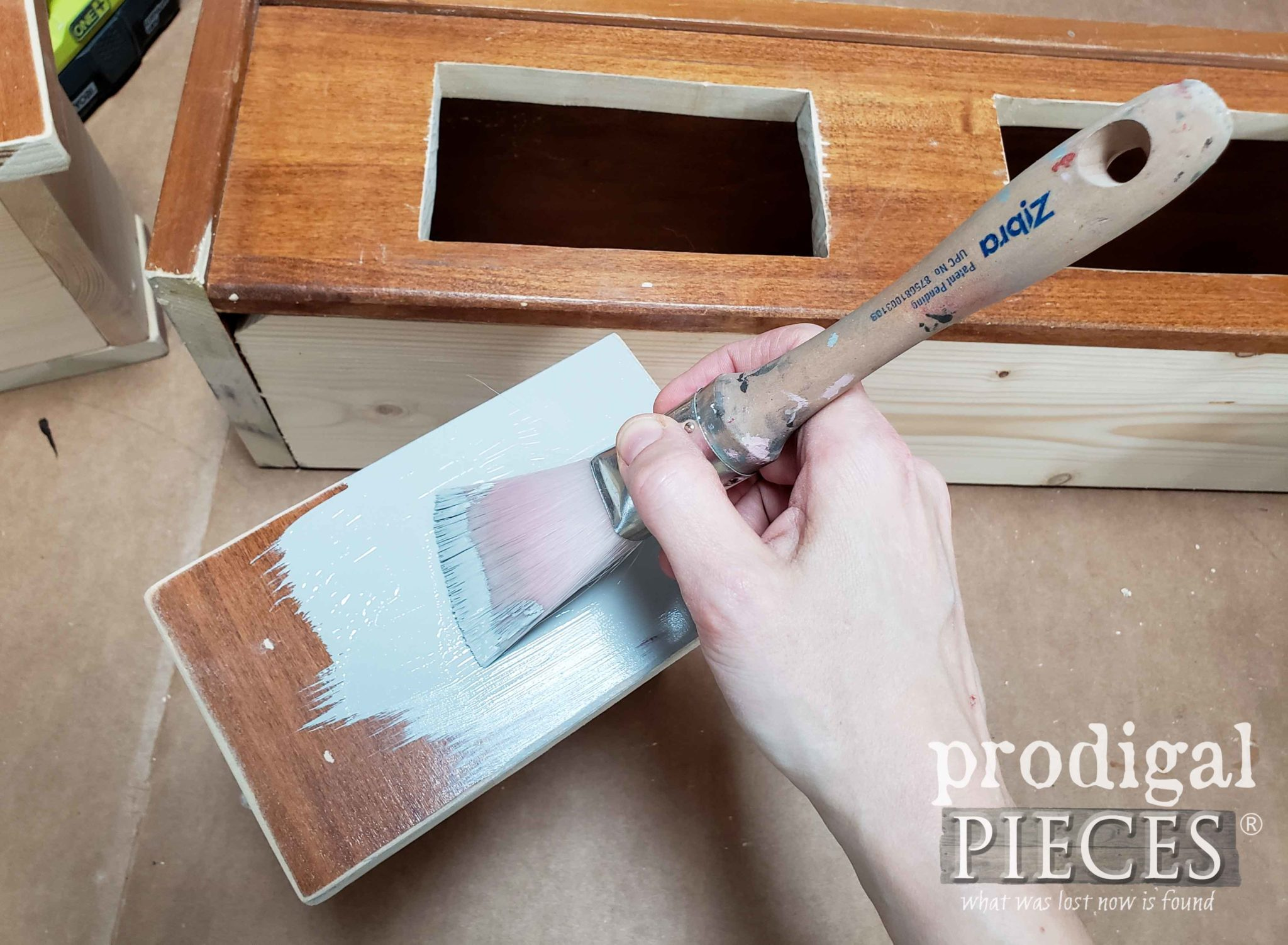 Painting Farmhouse Hutch with Zibra Paint Brush | prodigalpieces.com