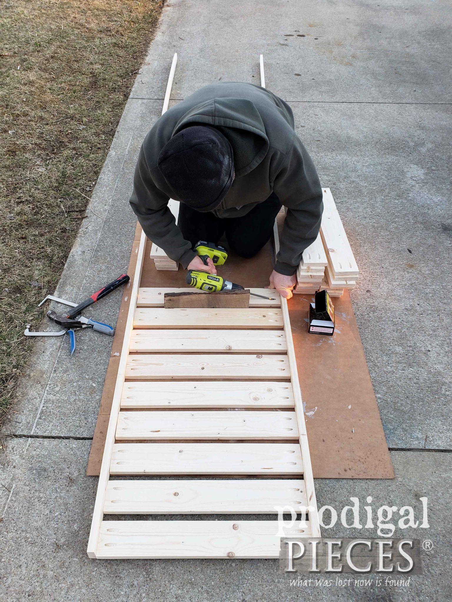 Assembling DIY Shoe Storage Shelves for Mudroom Update by Prodigal Pieces | prodigalpieces.com