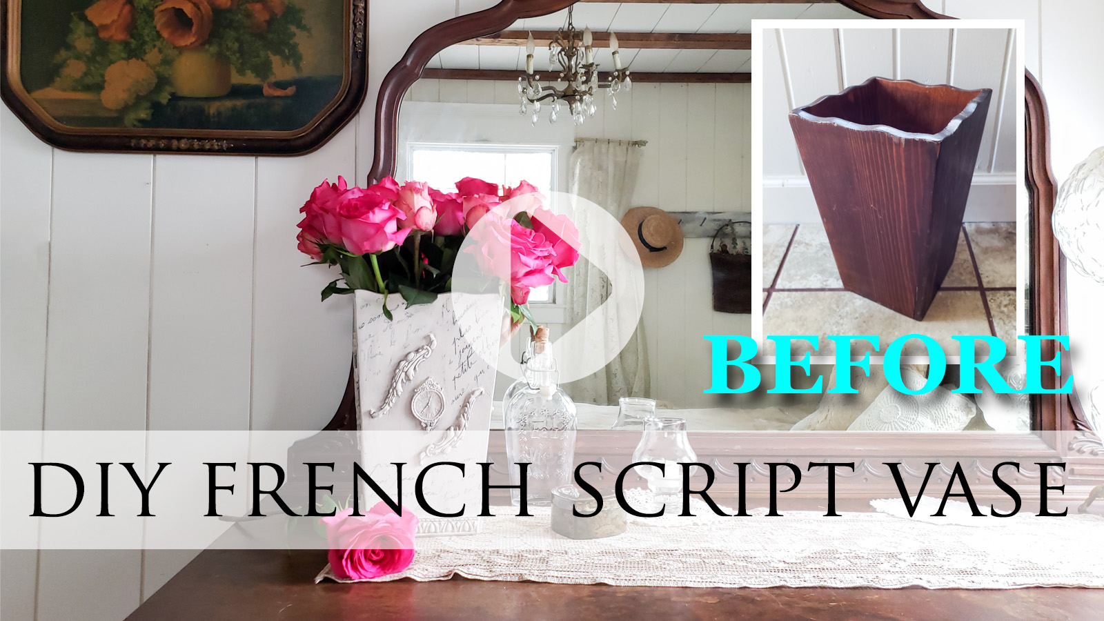 DIY French Script Vase with Video Tutorial by Larissa of Prodigal Pieces | prodigalpieces.com #prodigalpieces