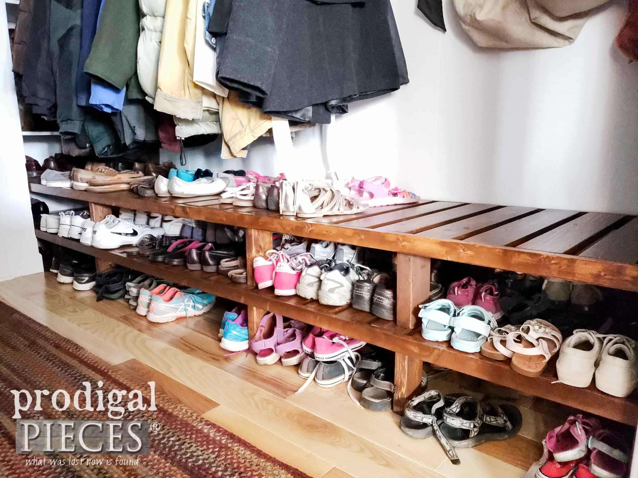 Custom Built-In Farmhouse Style Shoe Storage by Larissa of Prodigal Pieces | prodigalpieces.com #prodigalpieces #diy #home #storage #farmhouse #homedecor #homeimprovement