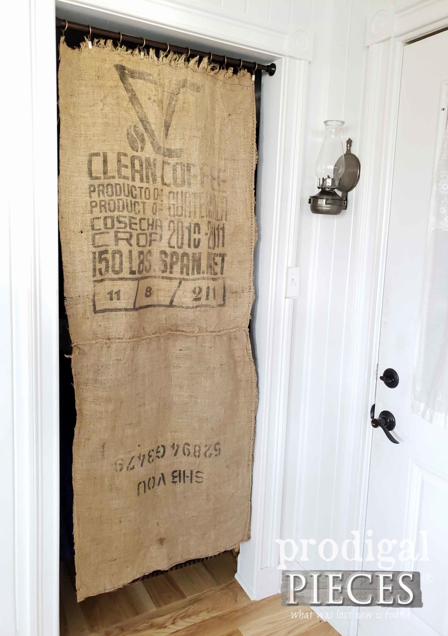 Burlap Coffee Sack Curtain for Farmhouse Style Mudroom Update by Larissa of Prodigal Pieces | prodigalpieces.com #prodigalpieces #diy #farmhouse #home #homedecor