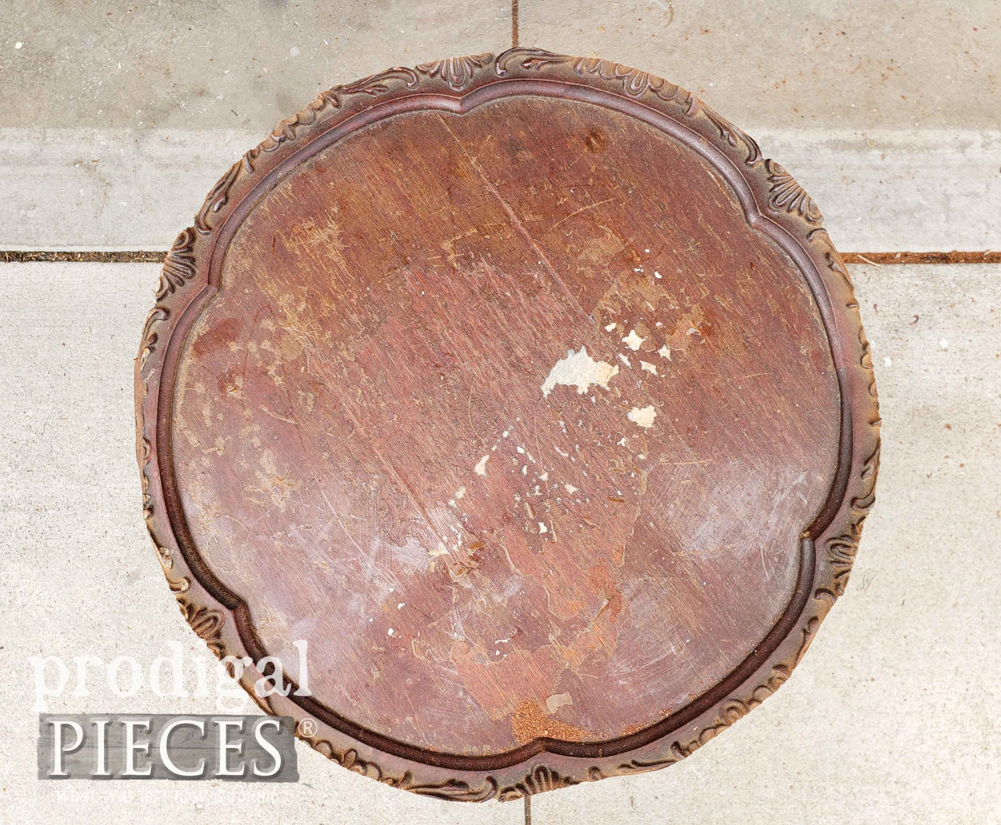 Cut Antique Pie Crust Table Top for Repair by Larissa of Prodigal Pieces | prodigalpieces.com