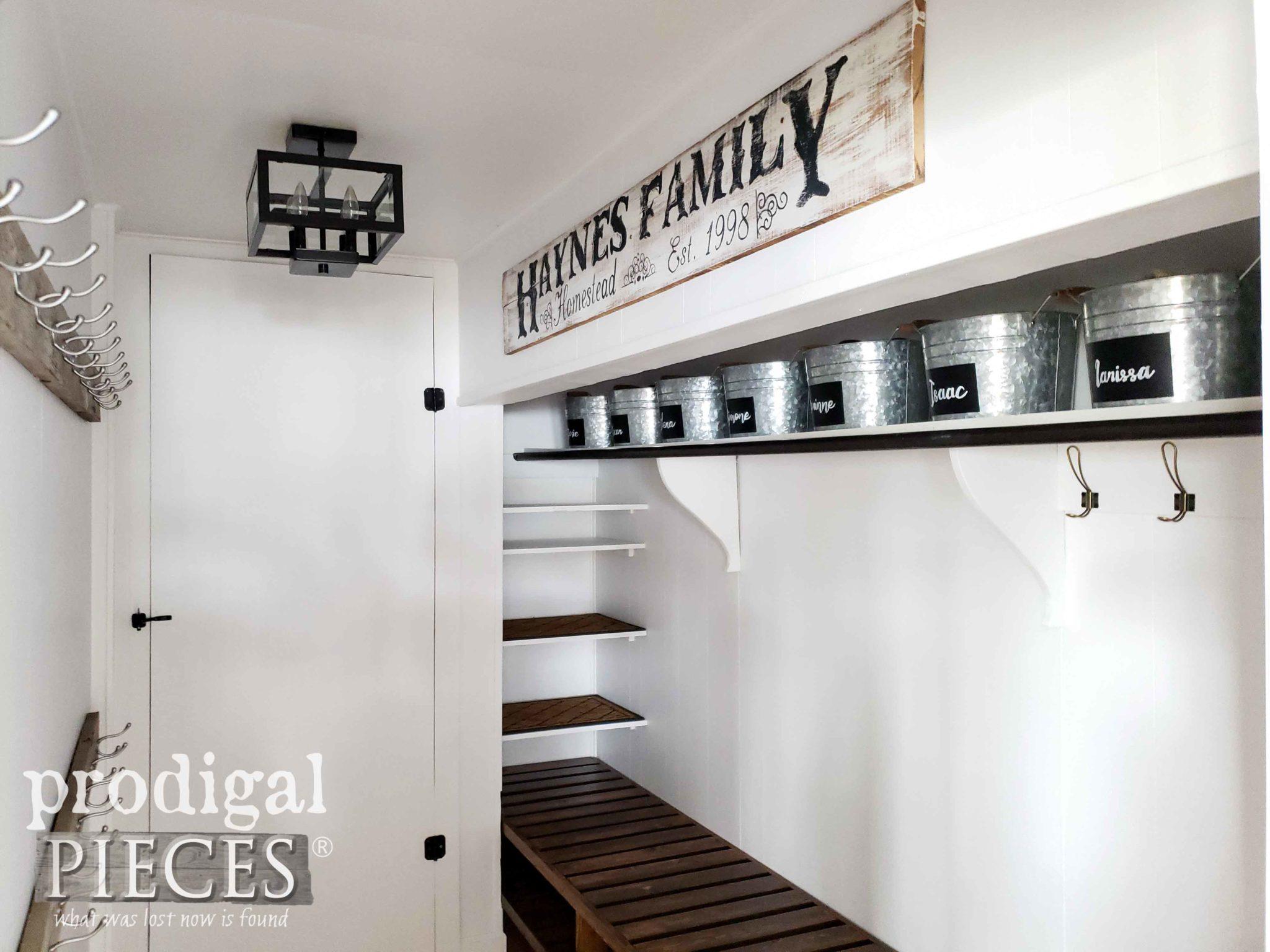 DIY Farmhouse Style Mudroom Storage with DIY Tutorial by Larissa of Prodigal Pieces | prodigalpieces.com #prodigalpieces #diy #home #homedecor #storage #farmhouse