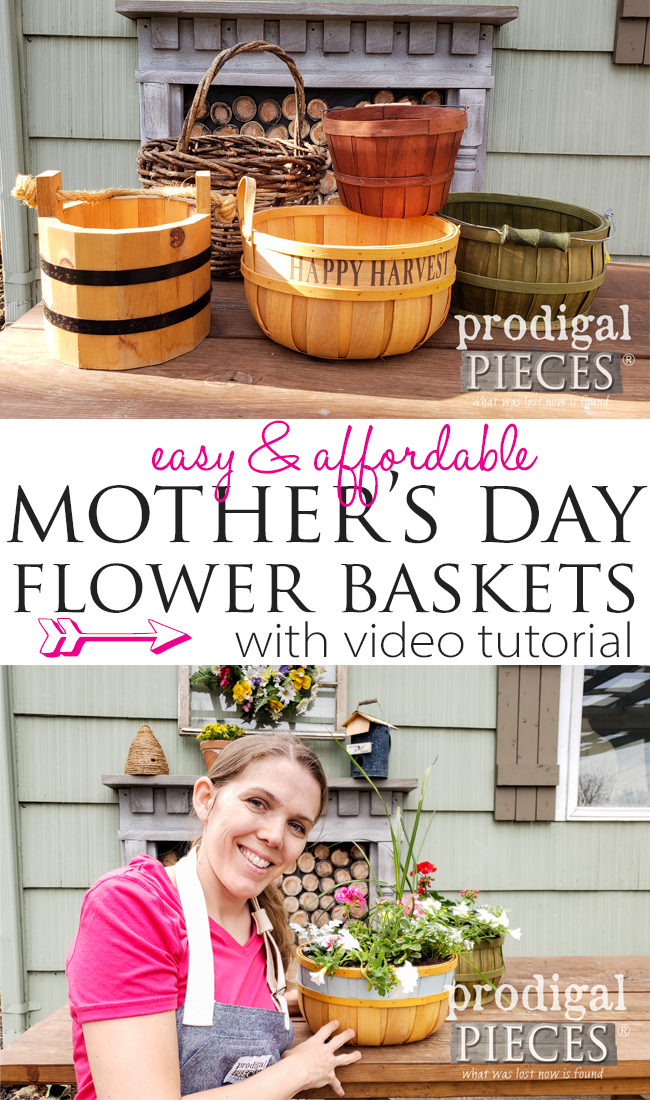 Looking for the perfect gift for mom? Blow her socks off with this Easy & Affordable Mother's Day Flower Basket | Full video tutorial by Larissa of Prodigal Pieces | Head to prodigalpieces.com #prodigalpieces #mothersday #giftideas #home #homedecor #budget #crafts #flowers #mom