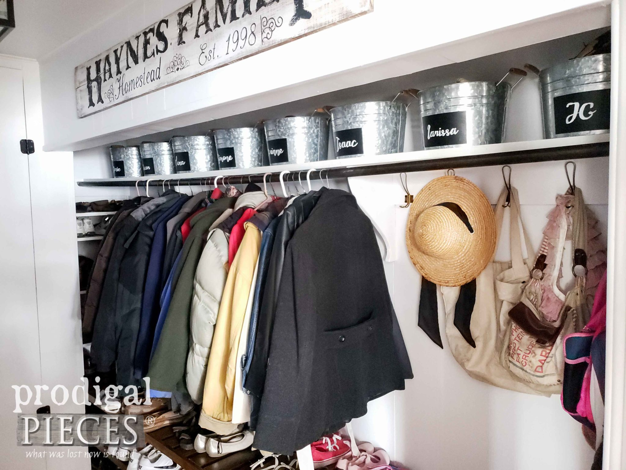 DIY Farmhouse Style Mudroom Storage on a Budget by Larissa of Prodigal Pieces | prodigalpieces.com #prodigalpieces #diy #home #farmhouse #homedecor #homeimprovement