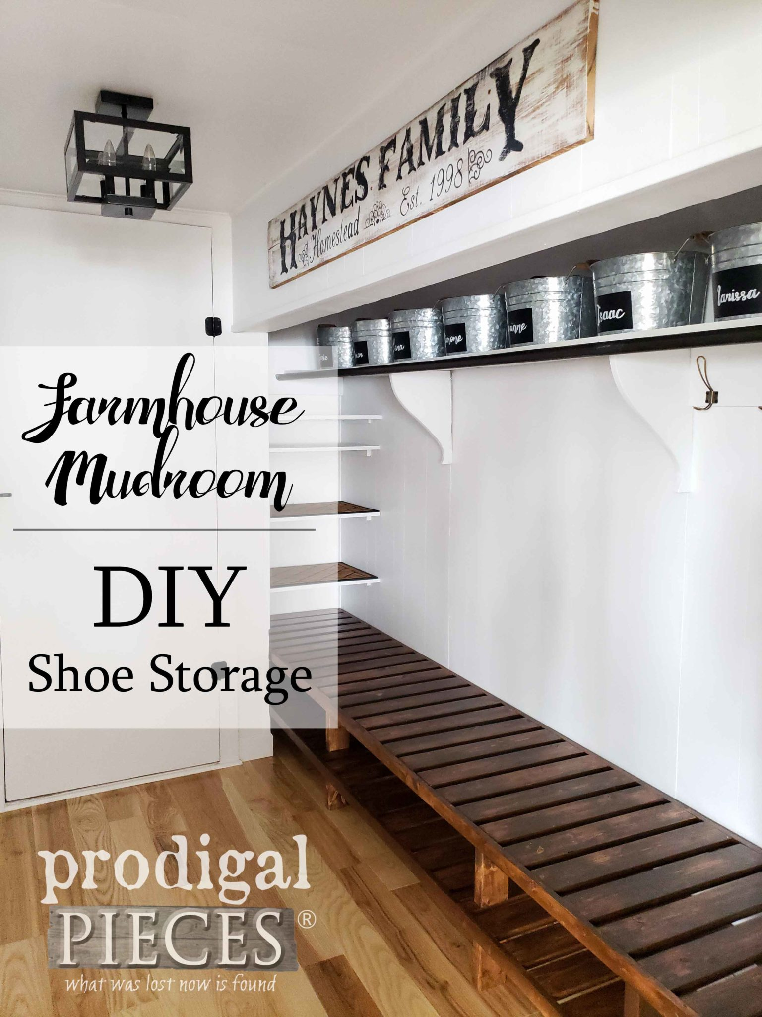 A must see! Check out this farmhouse style mudroom update complete with custom built-in DIY shoe storage Full video tour and DIY steps for you by Larissa of Prodigal Pieces | Head to prodigalpieces.com #prodigalpieces #farmhouse #diy #home #storage #homedecor #homeimprovement