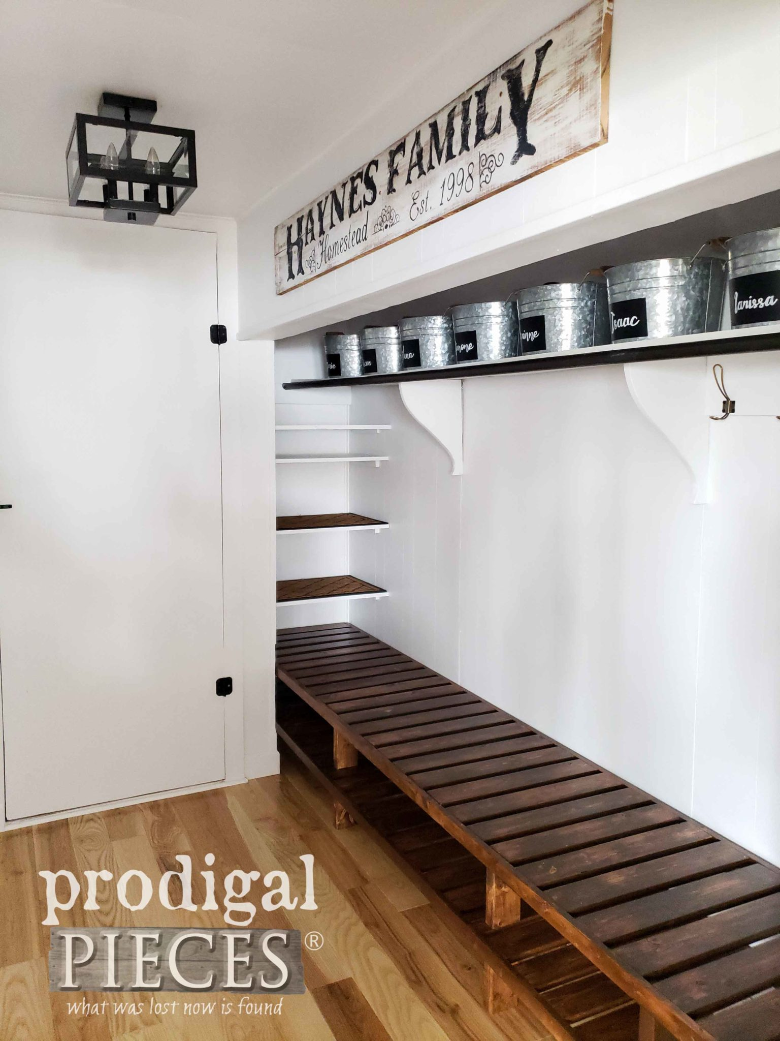 Farmhouse Style Mudroom Updated with Hardwood Flooring and DIY Shoe Storage by Larissa of Prodigal Pieces | prodigalpieces.com #prodigalpieces #diy #home #storage #homeimprovement #homedecor #farmhouse