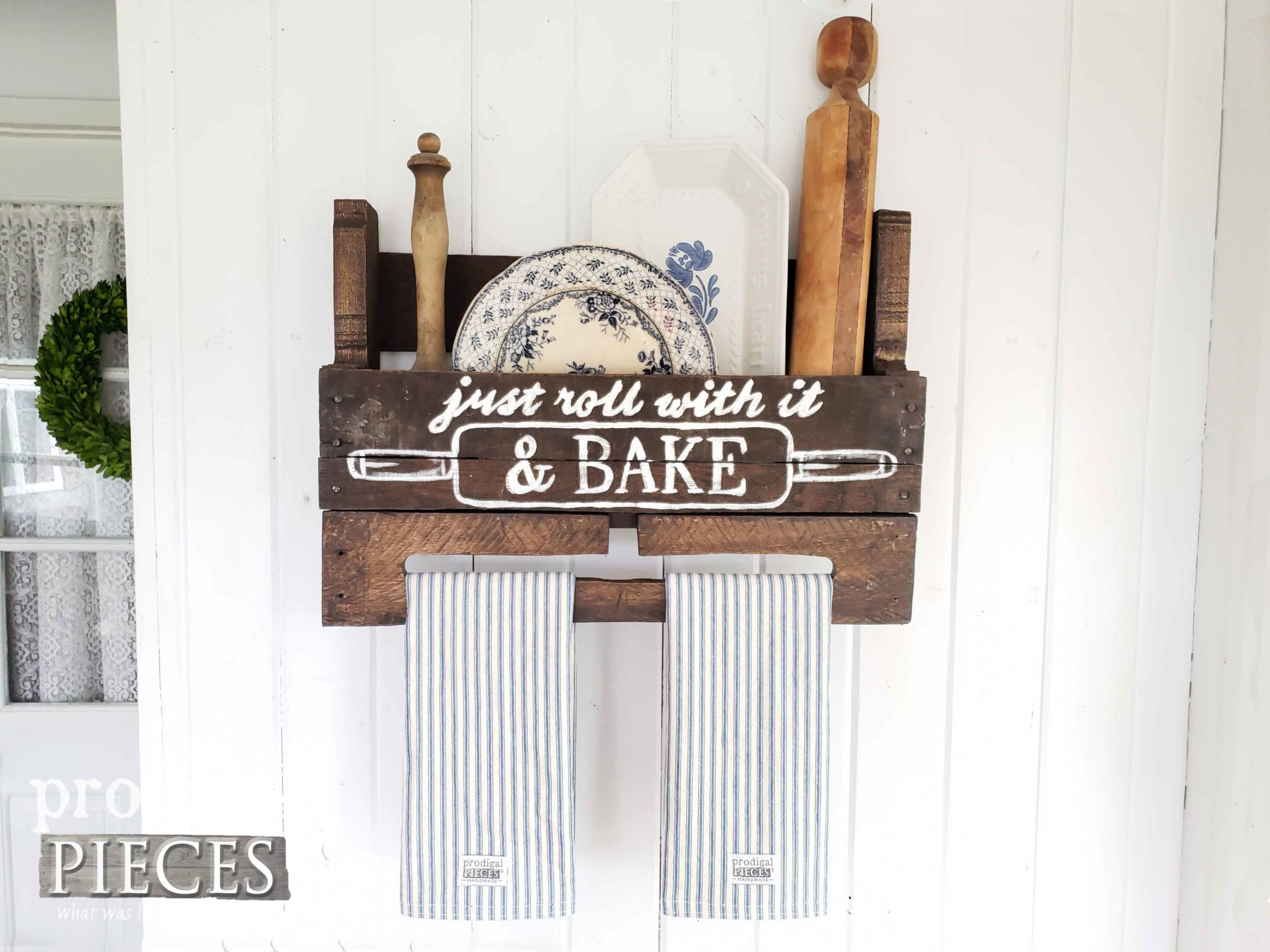 Farmhouse Style Kitchen Towel Rack with Storage Created from an Upcycled Pallet by Larissa of Prodigal Pieces | prodigalpieces.com #prodigalpieces #diy #handmade #farmhouse #home #homedecor