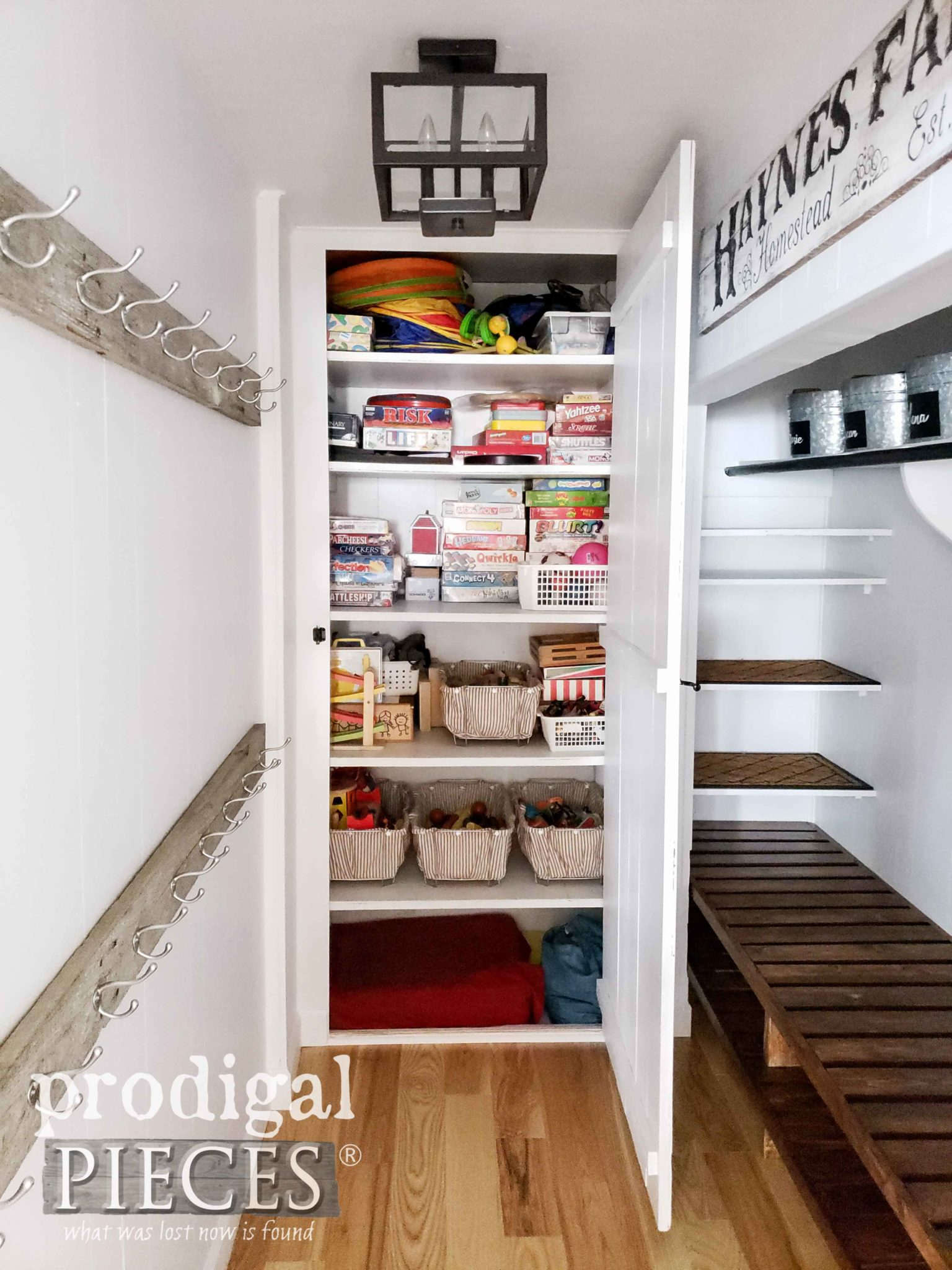 DIY Farmhouse Style Mudroom with Built-In Game Closet by Prodigal Pieces | prodigalpieces.com #prodigalpieces #diy #home #homeimprovement #homedecor #farmhouse