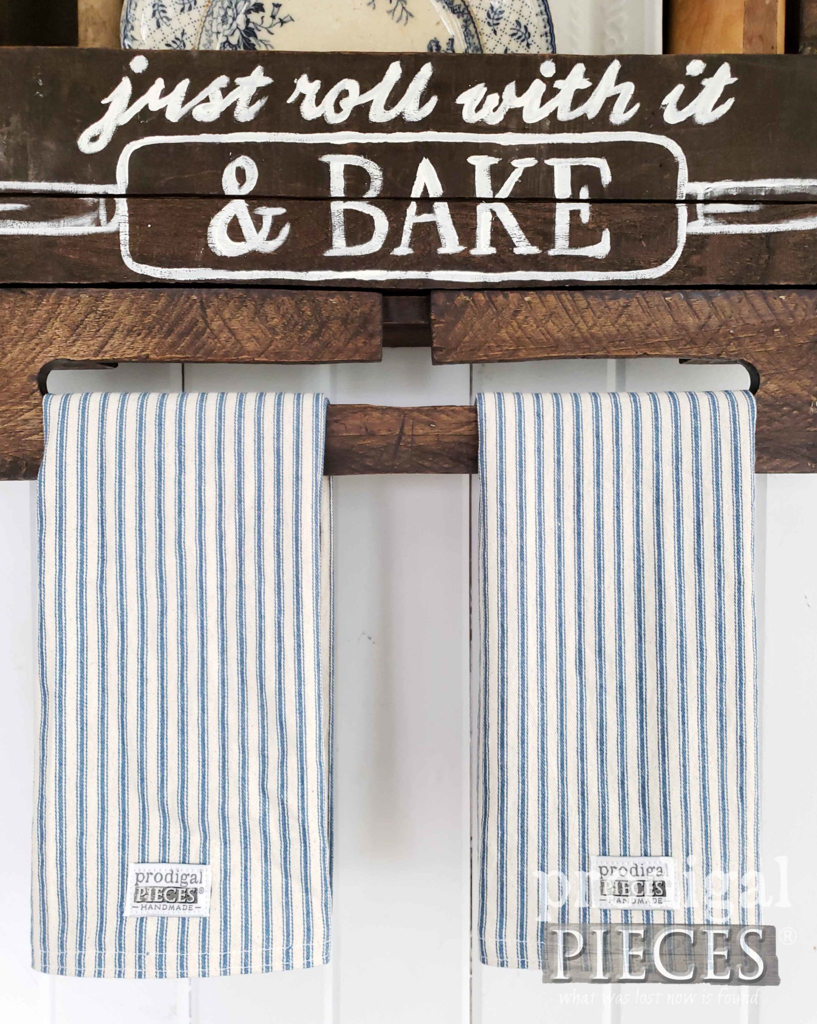 Handmade Farmhouse Ticking Stripe Kitchen Towels in Blue | by Larissa of Prodigal Pieces | prodigalpieces.com #prodigalpieces #diy #handmade #farmhouse #kitchen #home #homedecor #shopping