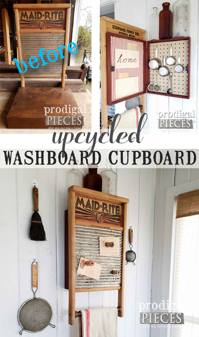 So fun! Larissa of Prodigal Pieces took a vintage washboard and old silverware box to create this farmhouse style upcycled washboard cupboard. Come see the details at prodigalpieces.com #prodigalpieces #diy #storage #handmade #farmhouse #home #homedecor #vintage