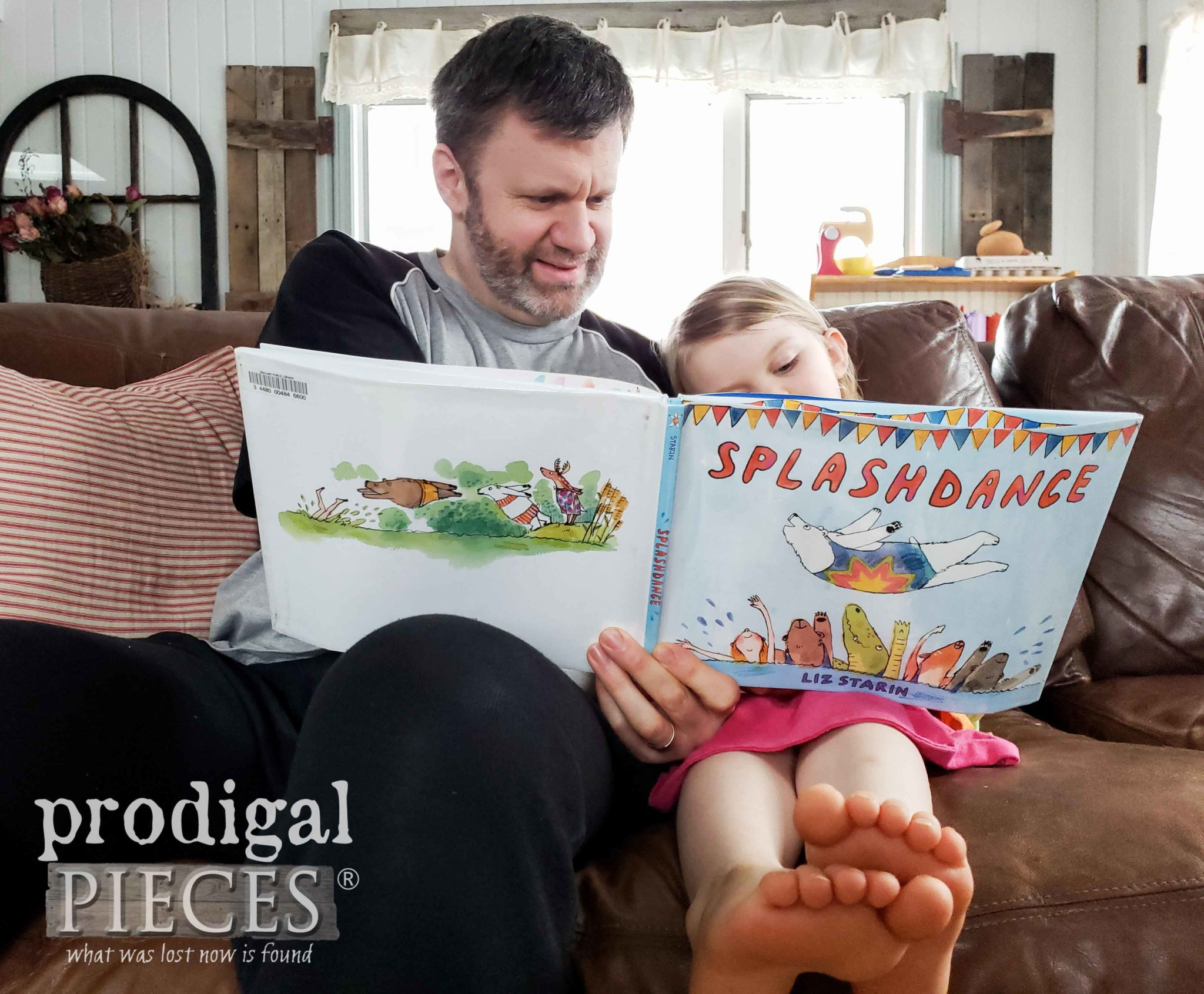 Father and Daughter Reading a Book at HOME | prodigalpieces and the #homeisthekey Habitat for Humanity campaign #prodigalpieces #home