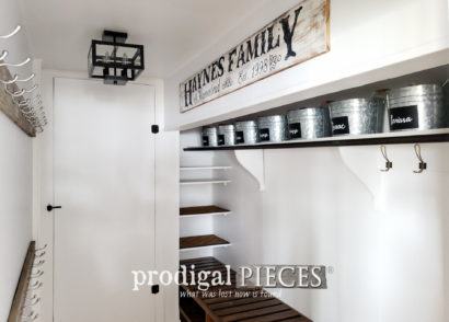 Featured Farmhouse Style Mudroom Update with DIY Shoe Storage by Larissa of Prodigal Pieces | prodigalpieces.com #prodigalpieces #diy #home #storage #homedecor #homeimprovement