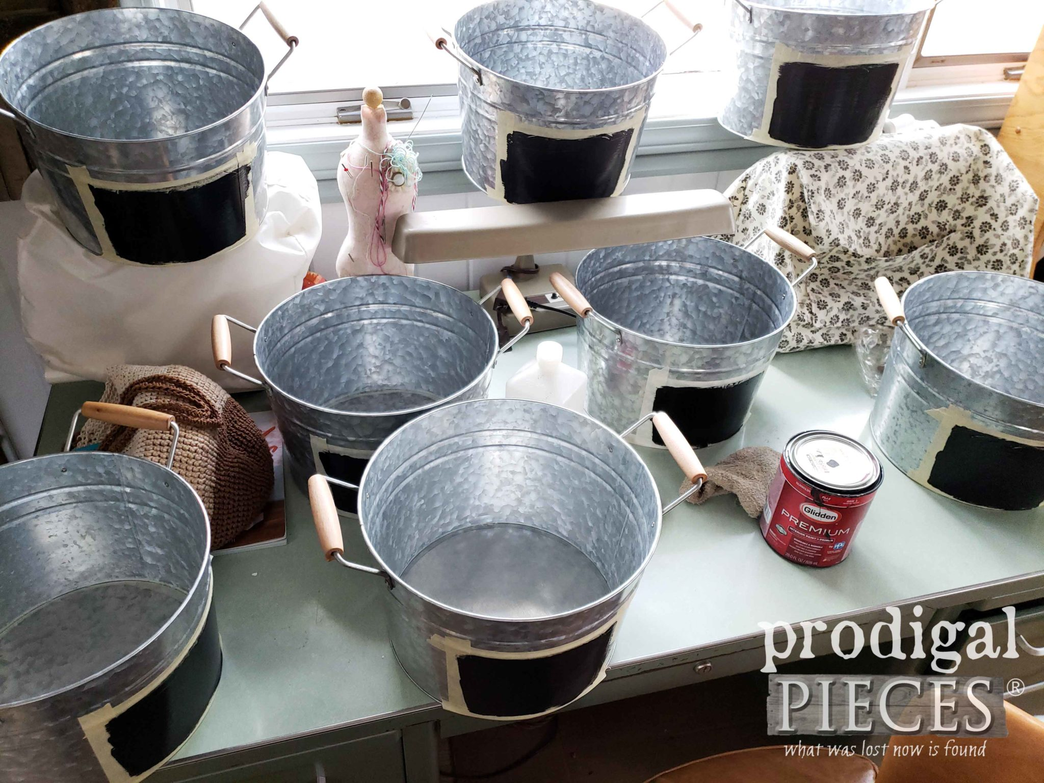 Galvanized Storage Buckets for Mudroom Update by Prodigal Pieces | prodigalpieces.com