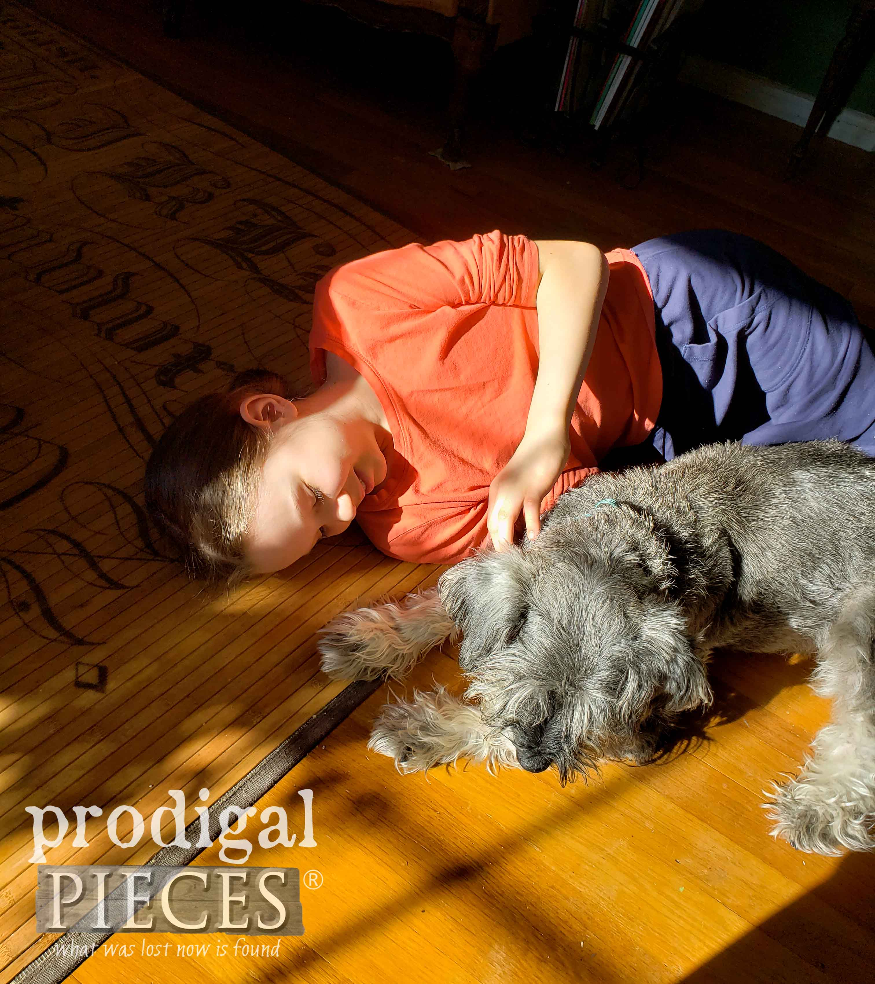 Girl with Dog Laying in a Sun Spot | Prodigal Pieces #homeisthekey campaign for Habitat for Humanity | prodigalpieces.com #prodigalpieces #home