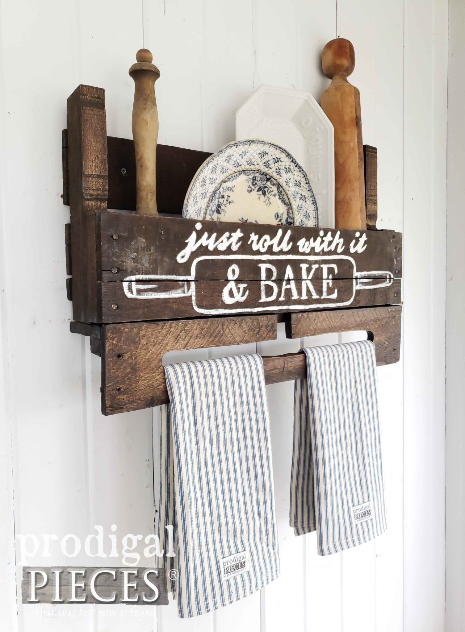 Handmade Farmhouse Towel Rack with Typography & Ticking Stripe Towels Created by Larissa of Prodigal Pieces | prodigalpieces.com #prodigalpieces #diy #farmhouse #home #homedecor #handmade