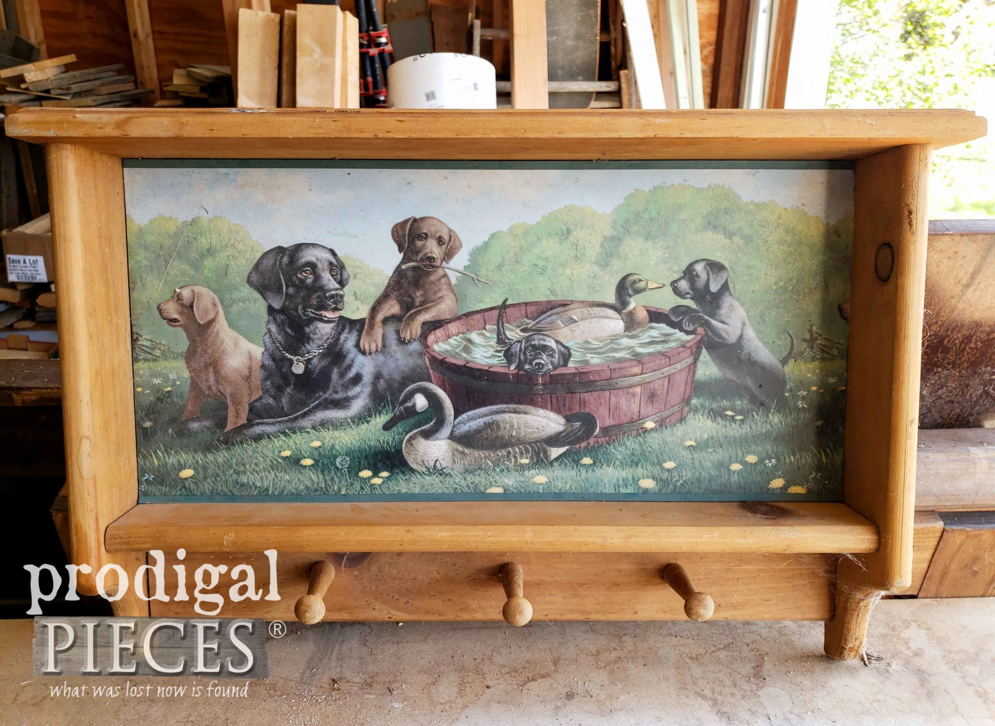 1980's Hunting Scene Shelf Before Makeover by Prodigal Pieces | prodigalpieces.com