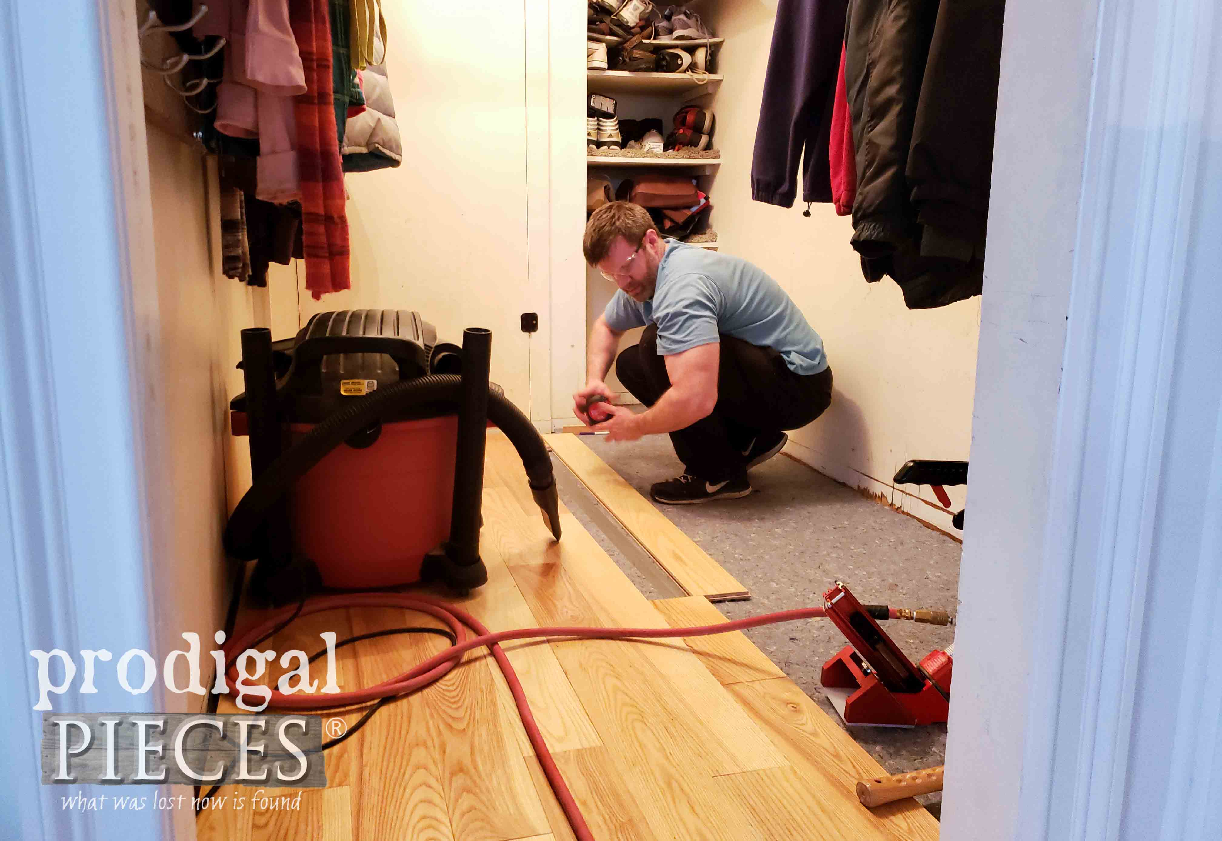Installing Hardwood Floors in Mudroom Update by Prodigal Pieces | prodigalpieces.com